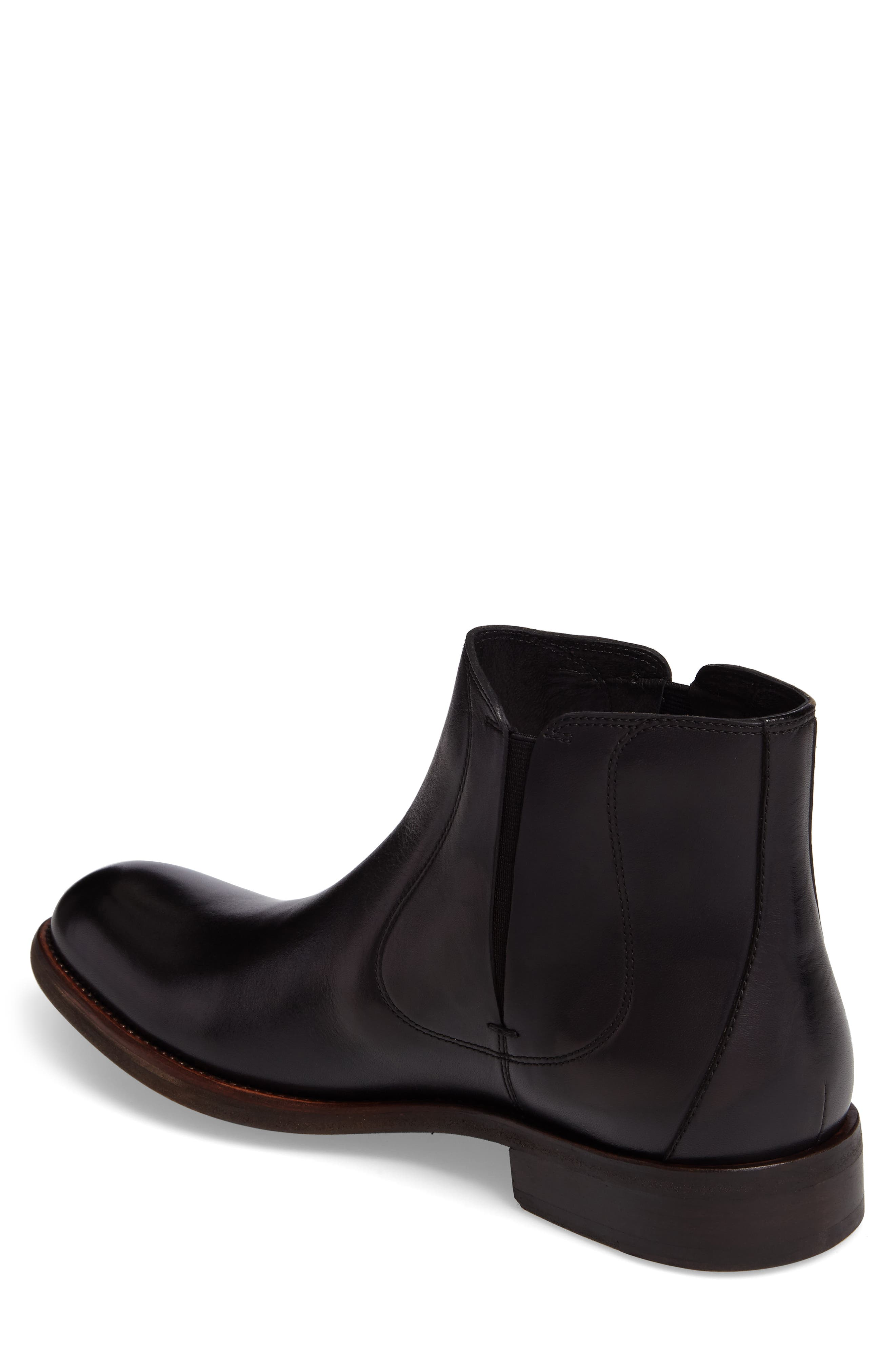 JOHN VARVATOS STAR USA, Waverley Chelsea Boot, Alternate thumbnail 2, color, BLACK LEATHER