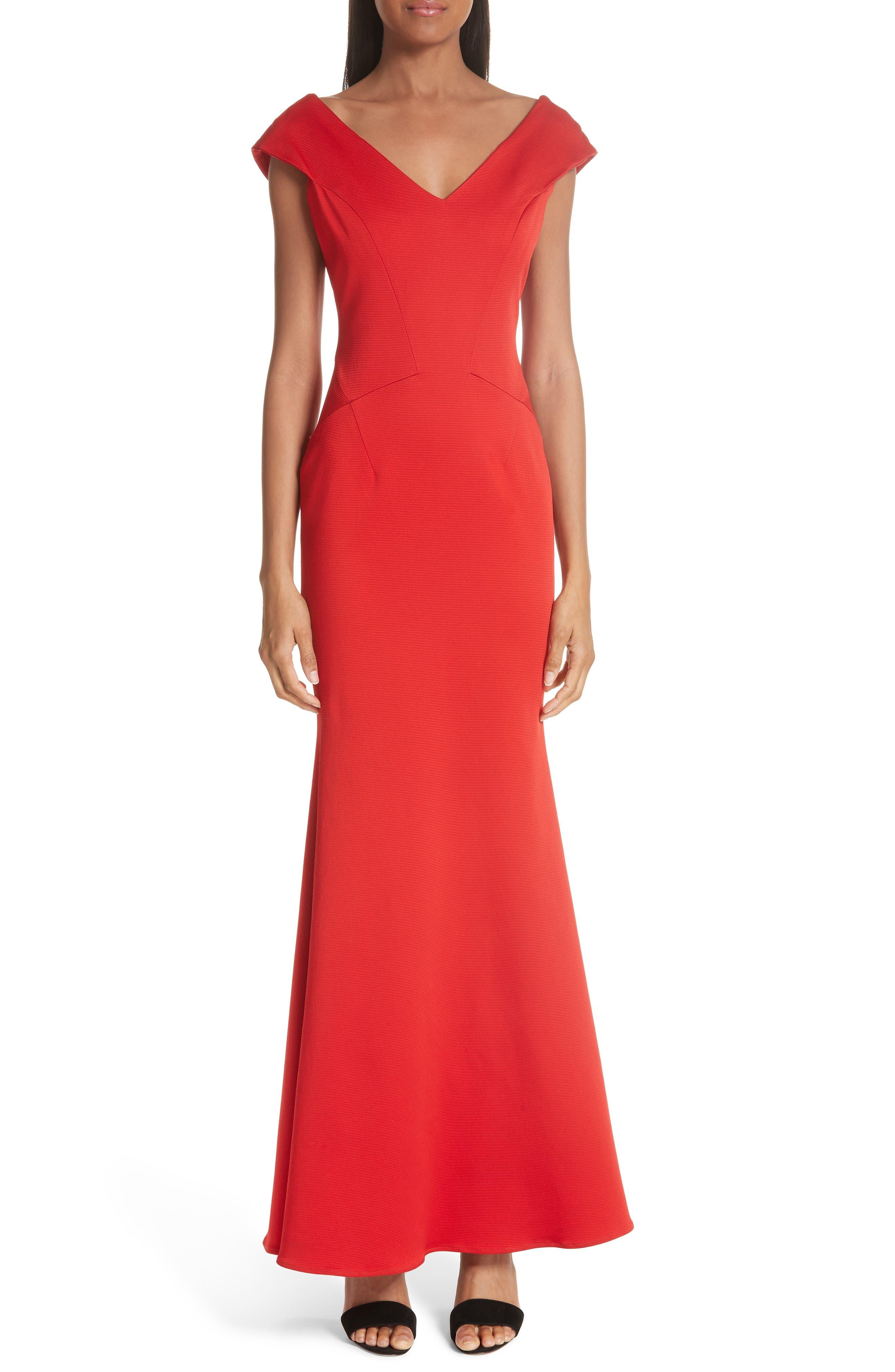ZAC ZAC POSEN, Nina Trumpet Gown, Alternate thumbnail 6, color, RED