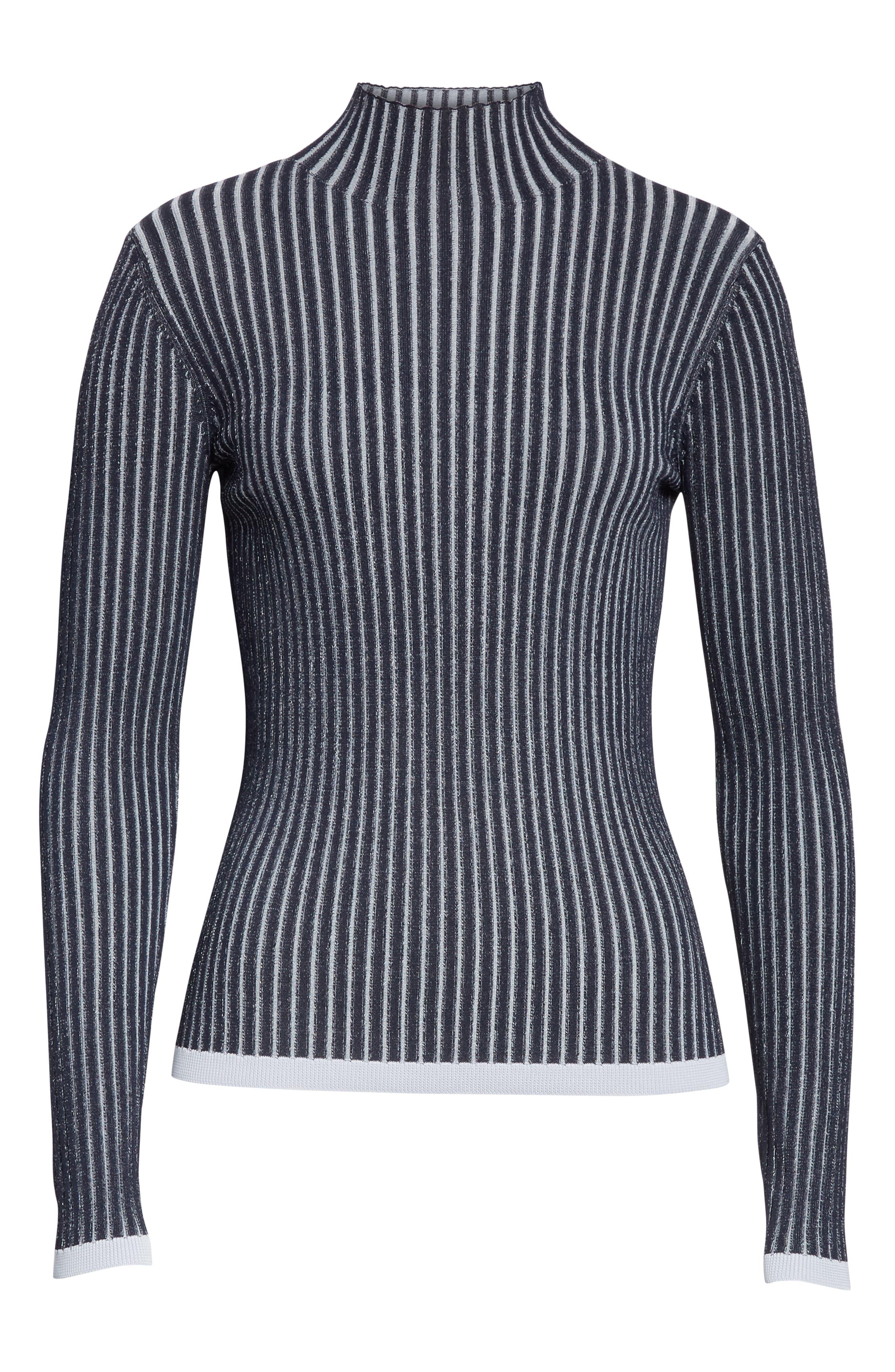 LEWIT, Stripe Ribbed Mock Neck Sweater, Alternate thumbnail 6, color, NAVY ICELANDIC STRIPE