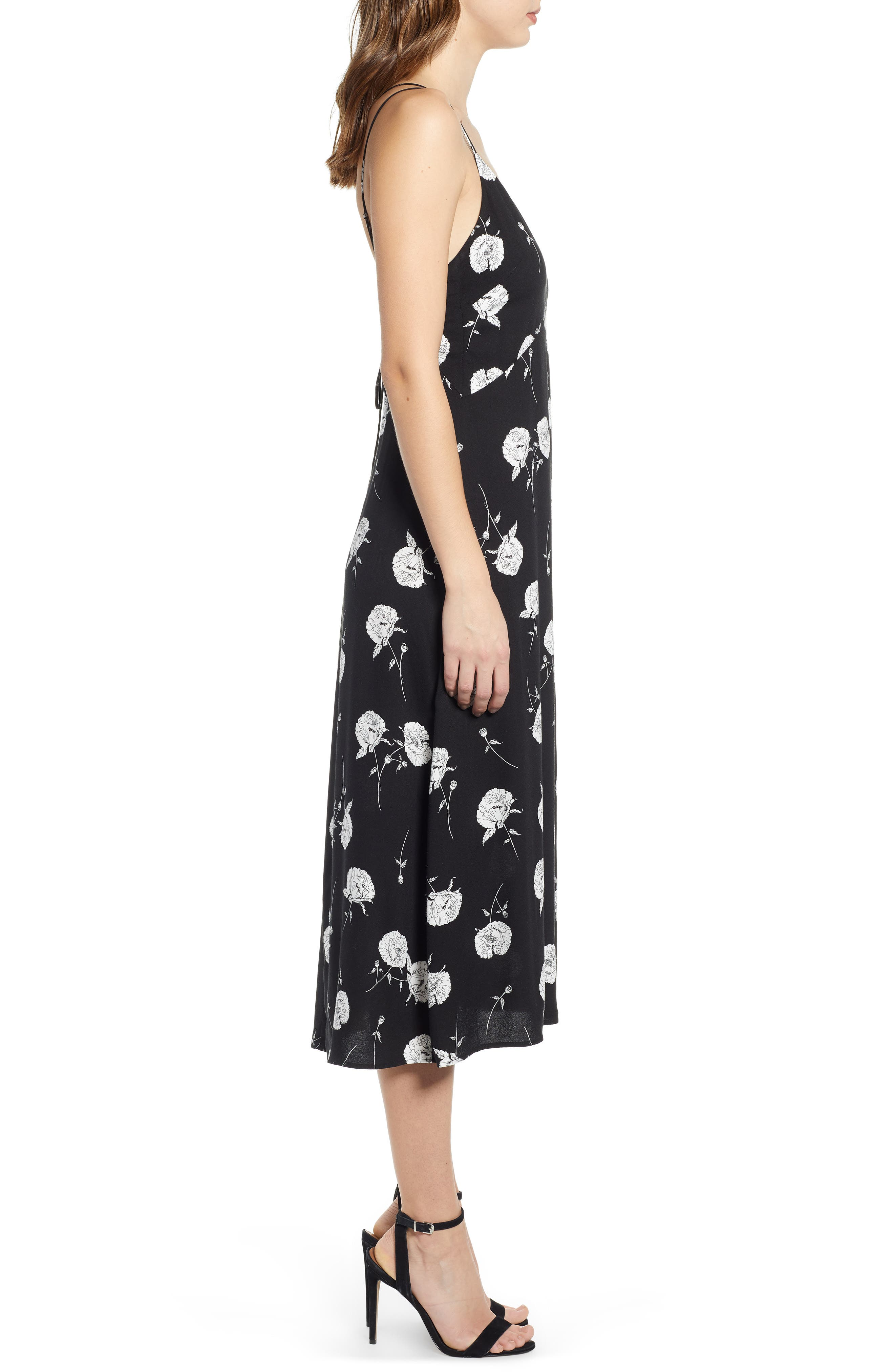 LEITH, Floral Strappy Midi Dress, Alternate thumbnail 4, color, BLACK TWO FLORAL