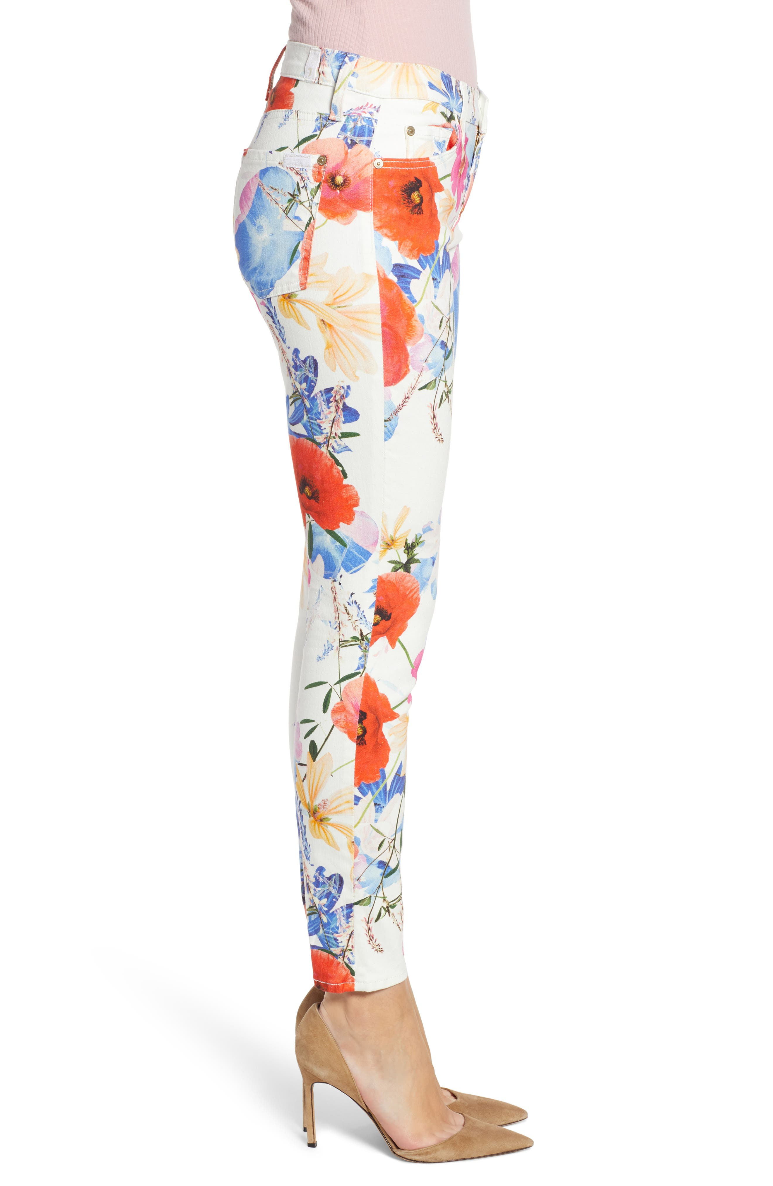 7 FOR ALL MANKIND<SUP>®</SUP>, The Ankle Skinny Jeans, Alternate thumbnail 4, color, SEASIDE POPPIES