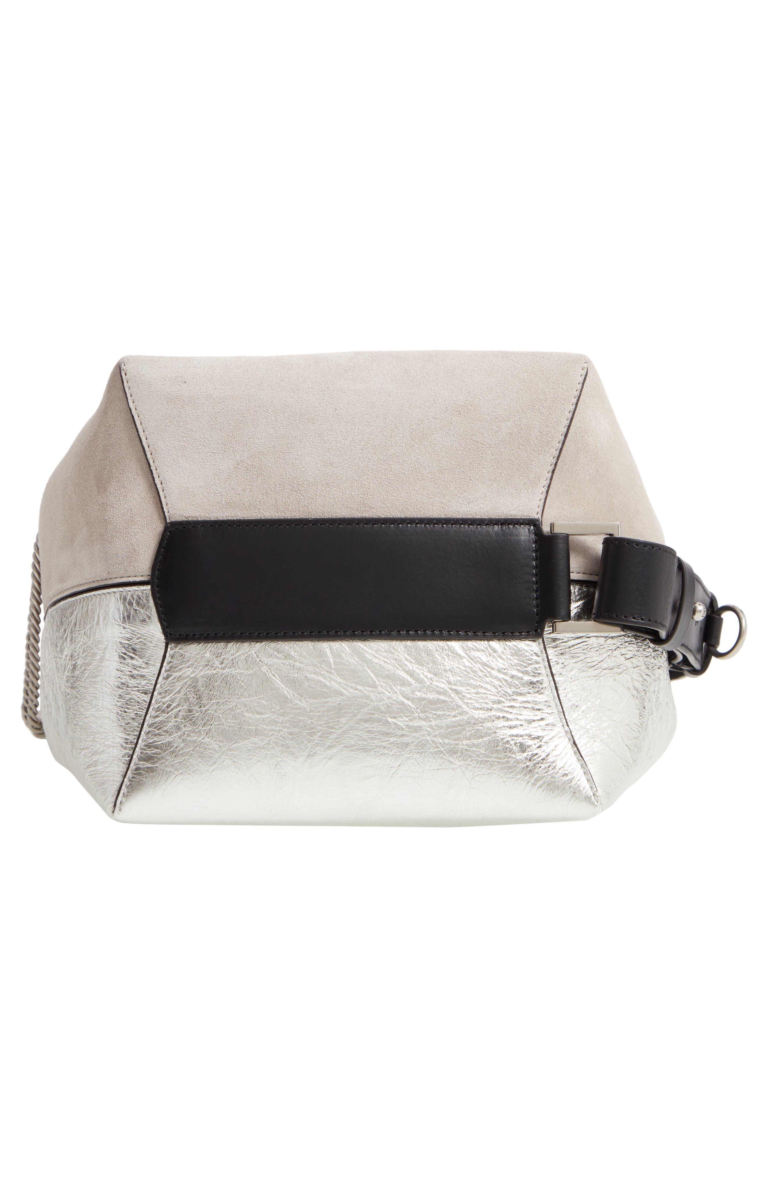 GIVENCHY, Medium GV Calfskin Suede Bucket Bag, Alternate thumbnail 7, color, NATURAL/ SILVER