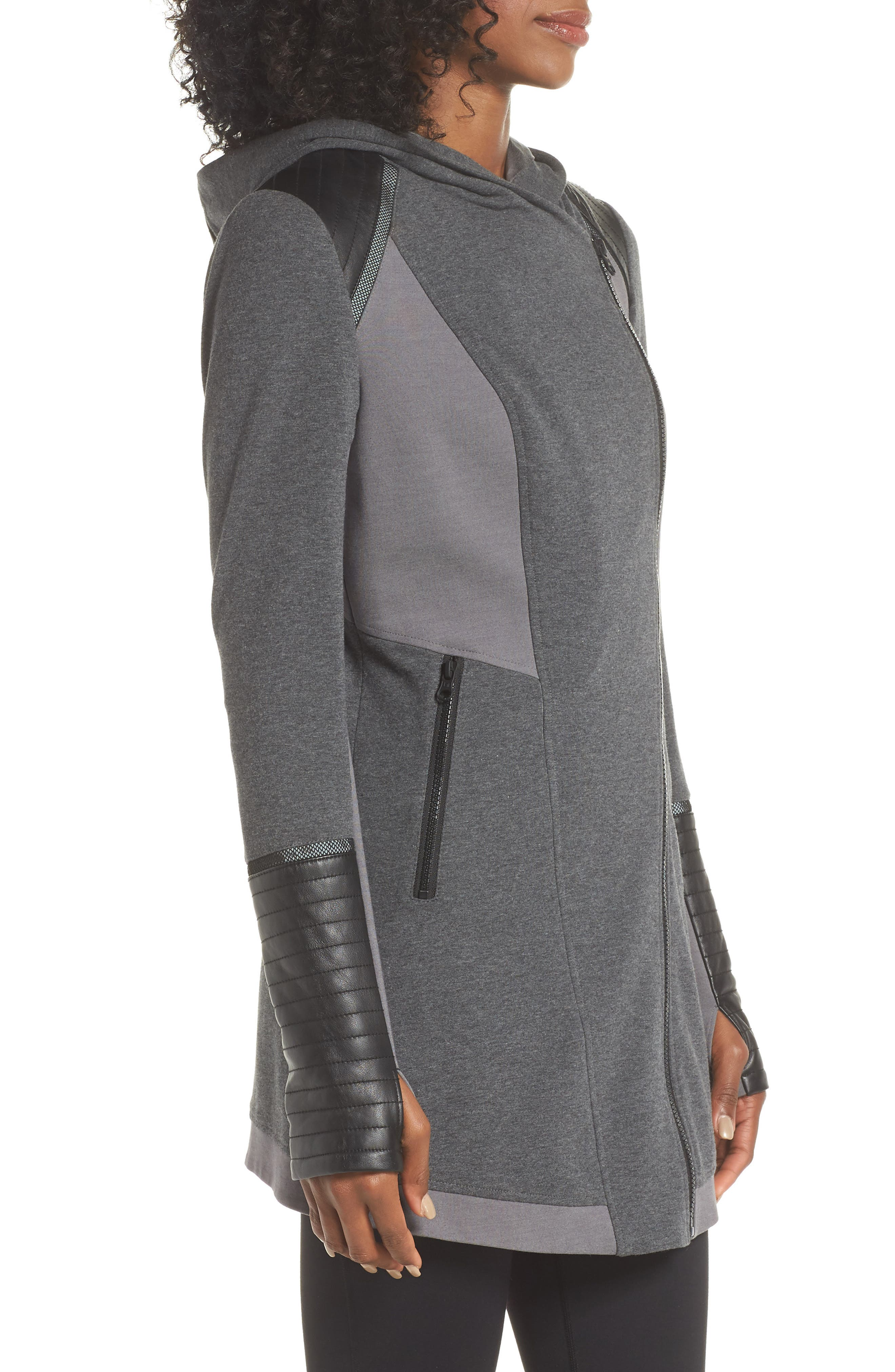 BLANC NOIR, Traveller Mesh Inset Jacket, Alternate thumbnail 2, color, CHARCOAL