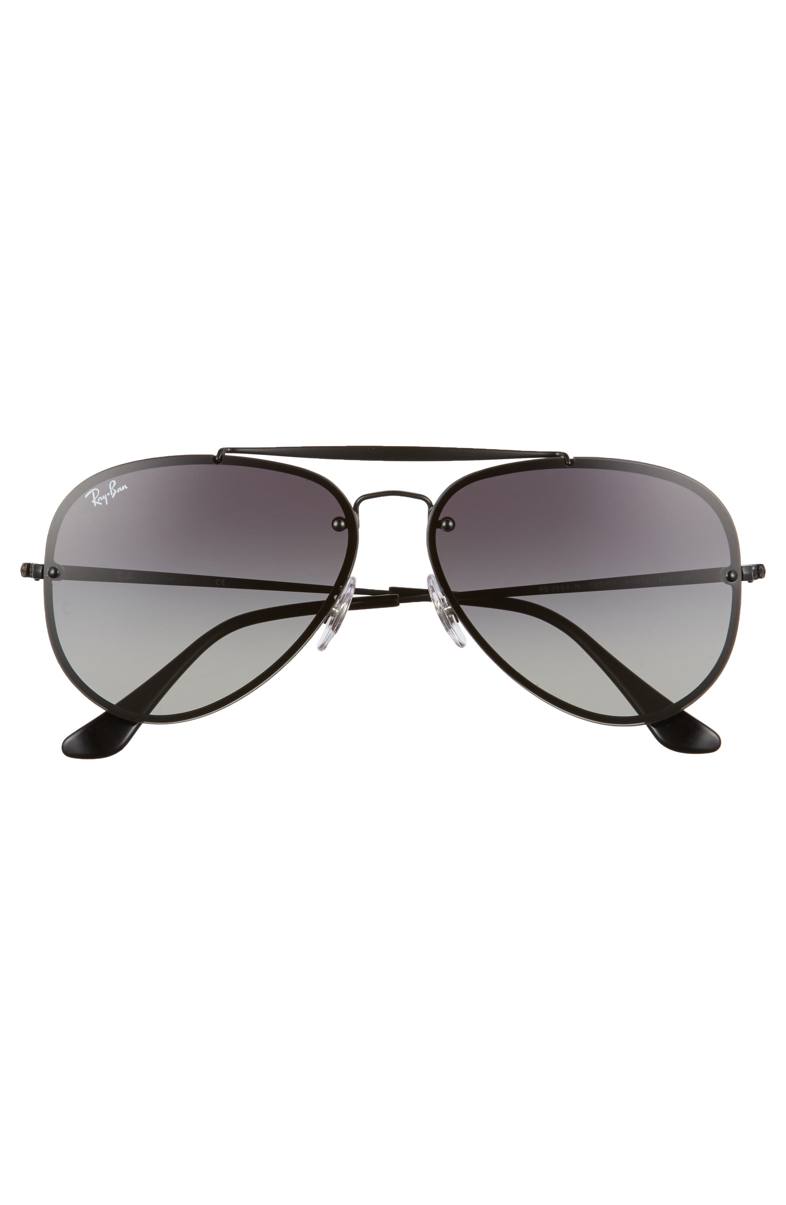 RAY-BAN, 61mm Gradient Lens Aviator Sunglasses, Alternate thumbnail 3, color, SHINY BLACK