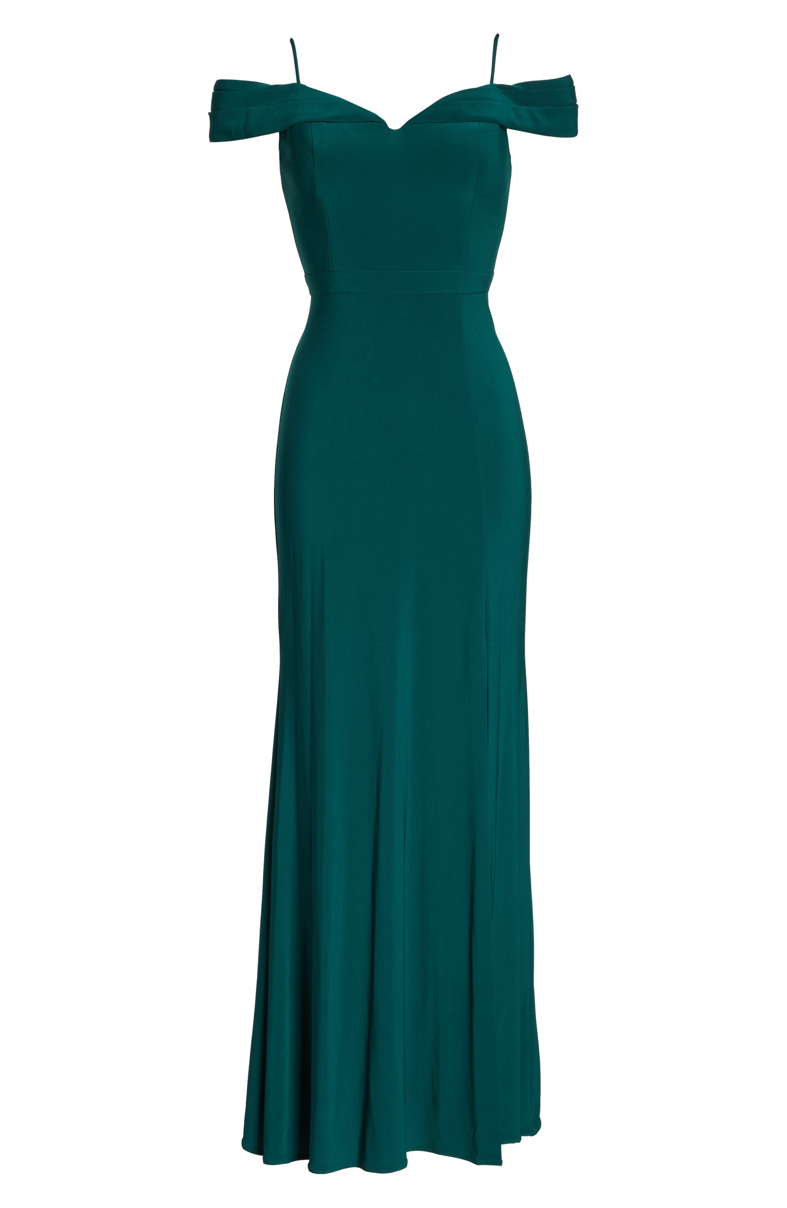 MORGAN & CO., Off the Shoulder Gown, Alternate thumbnail 6, color, PINE