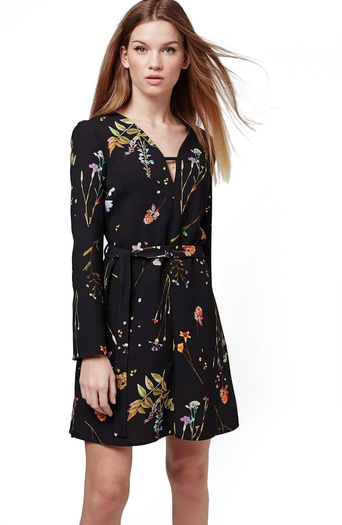 TOPSHOP, Belted Floral Tunic Dress, Alternate thumbnail 6, color, 001