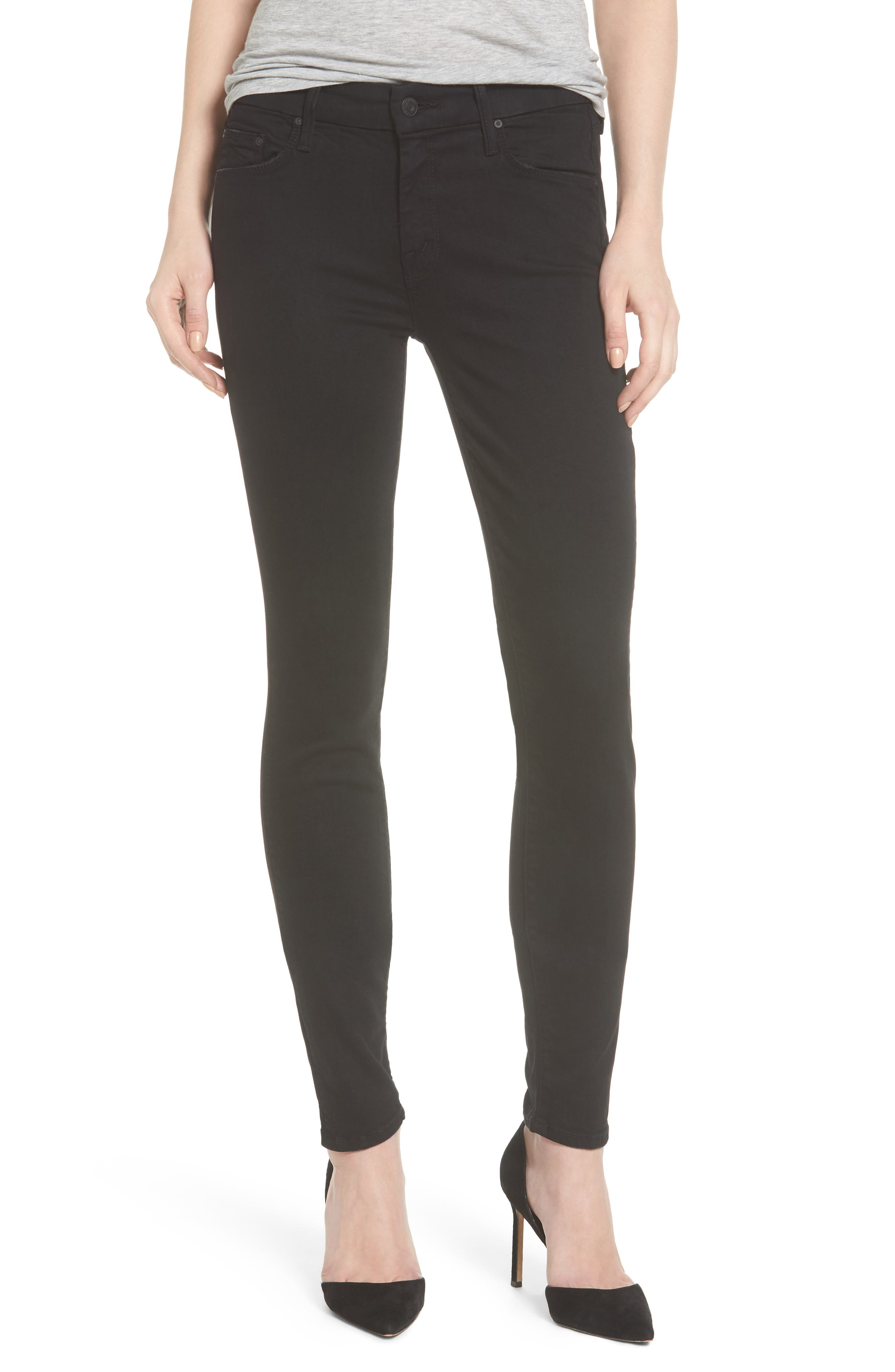 MOTHER, 'The Looker' Mid Rise Skinny Jeans, Main thumbnail 1, color, NOT GUILTY