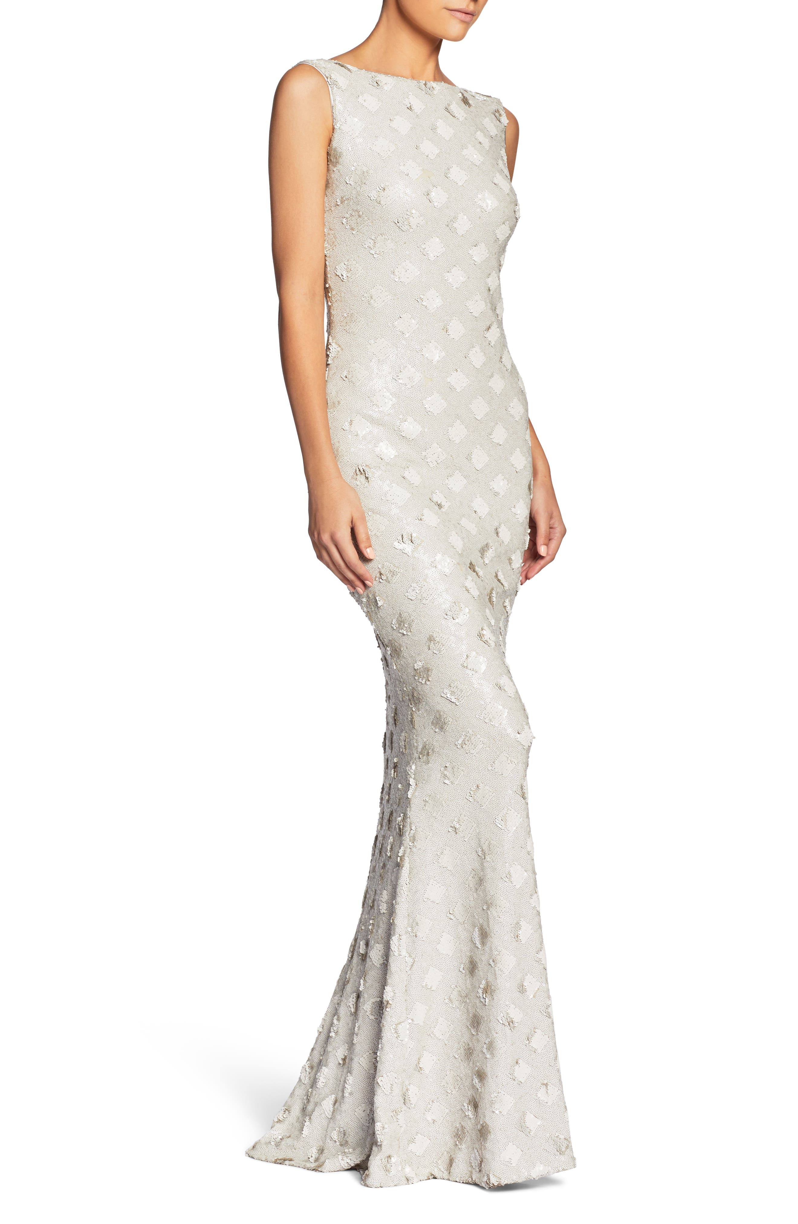 DRESS THE POPULATION, Yvette Sequin Trumpet Gown, Alternate thumbnail 3, color, 102