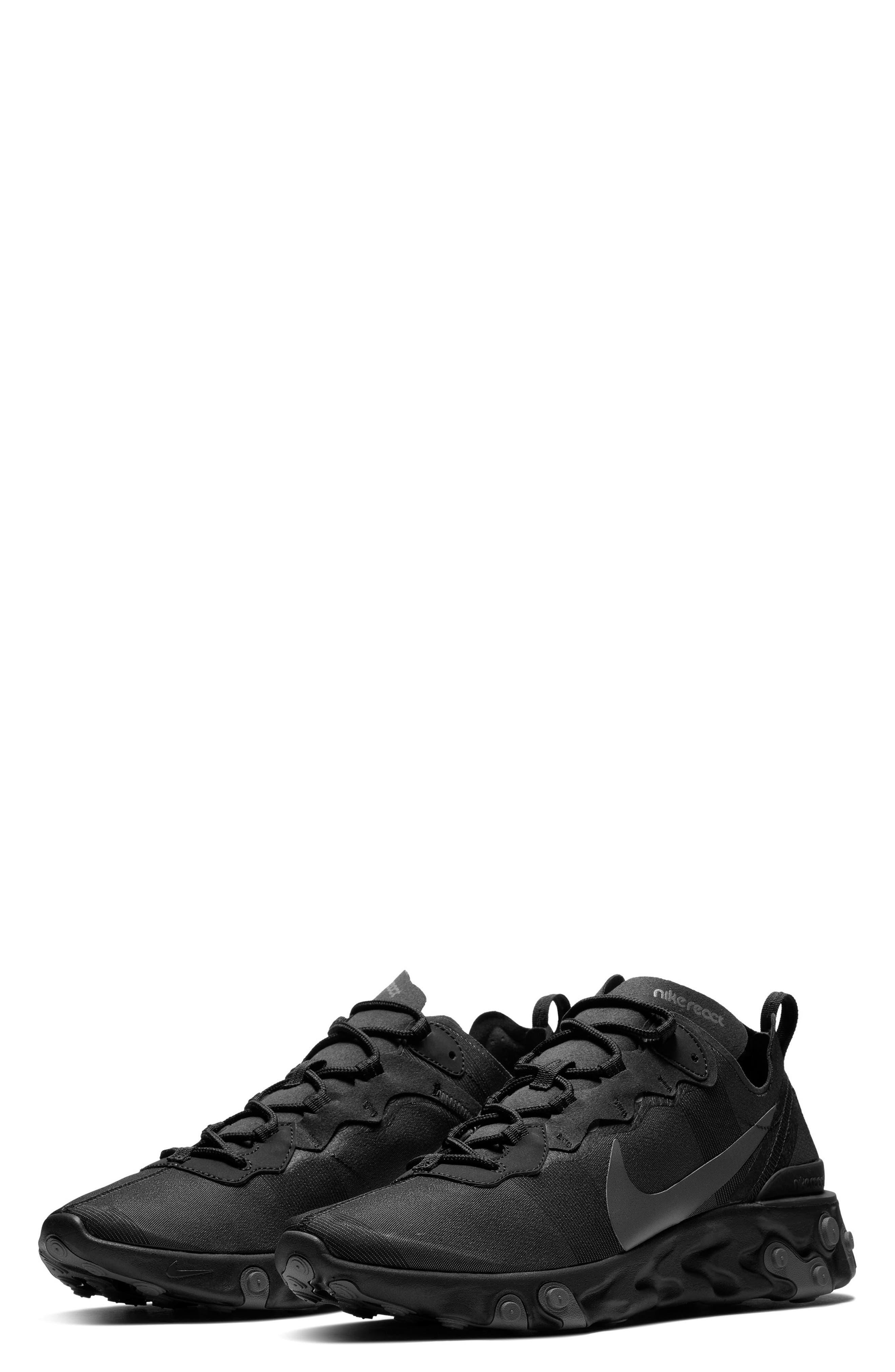 NIKE, React Element 55 Sneaker, Main thumbnail 1, color, BLACK/ DARK GREY