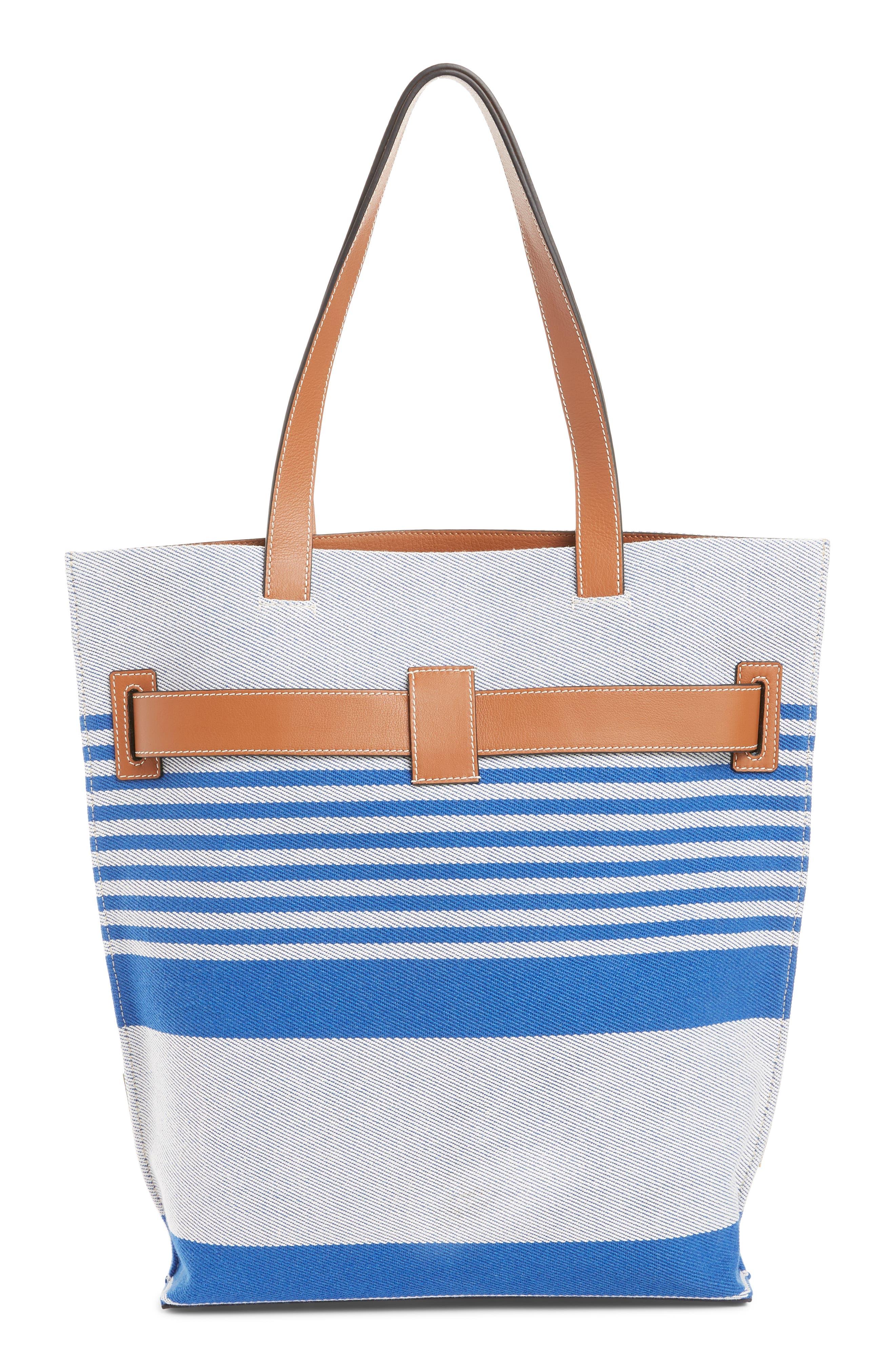 LOEWE, Stripe Twill Tote Bag, Alternate thumbnail 3, color, PACIFIC BLUE/MULTICOLOR