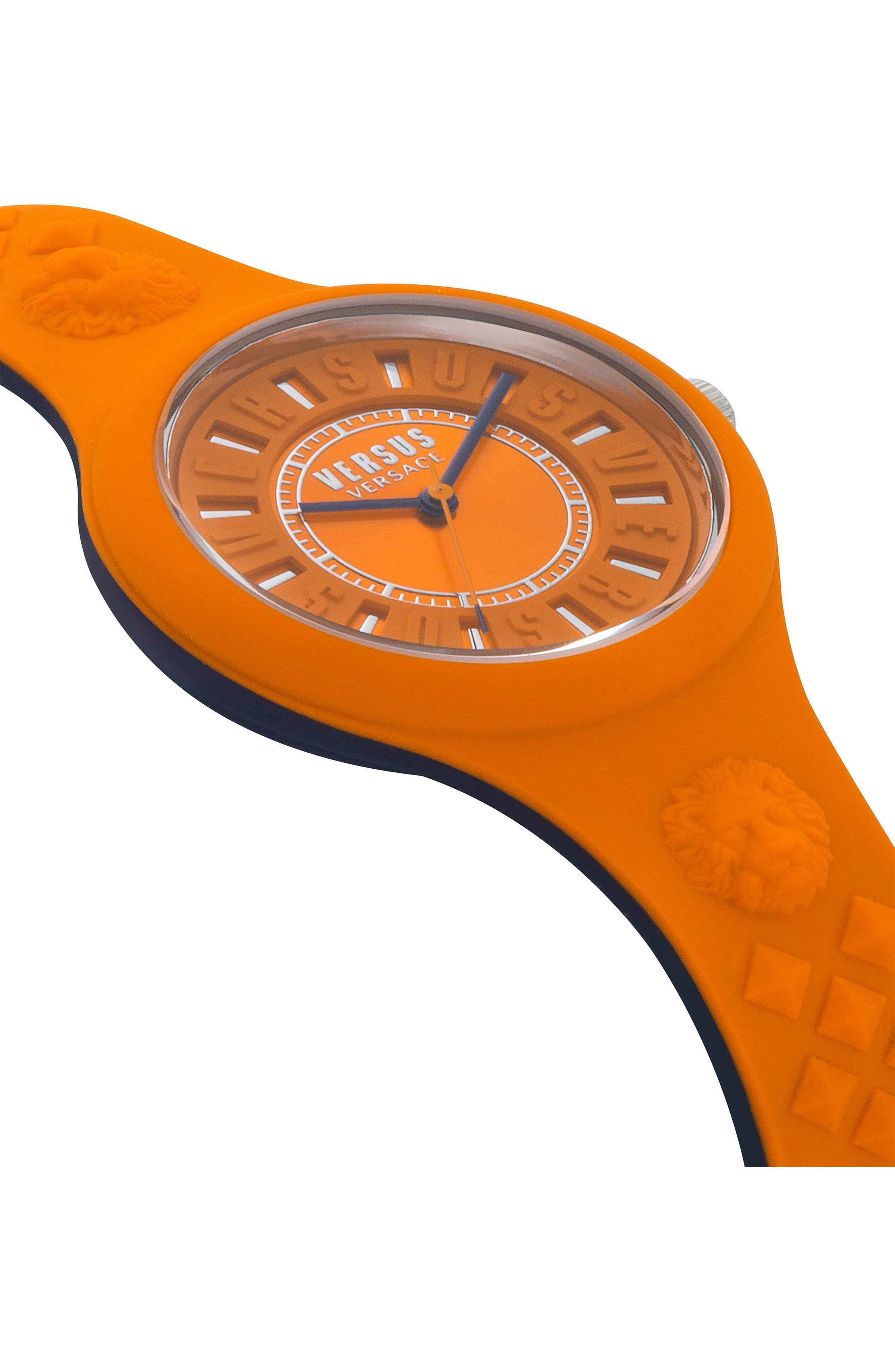 VERSUS VERSACE, Fire Island Silicone Strap Watch, 39mm, Alternate thumbnail 3, color, ORANGE/ GREY
