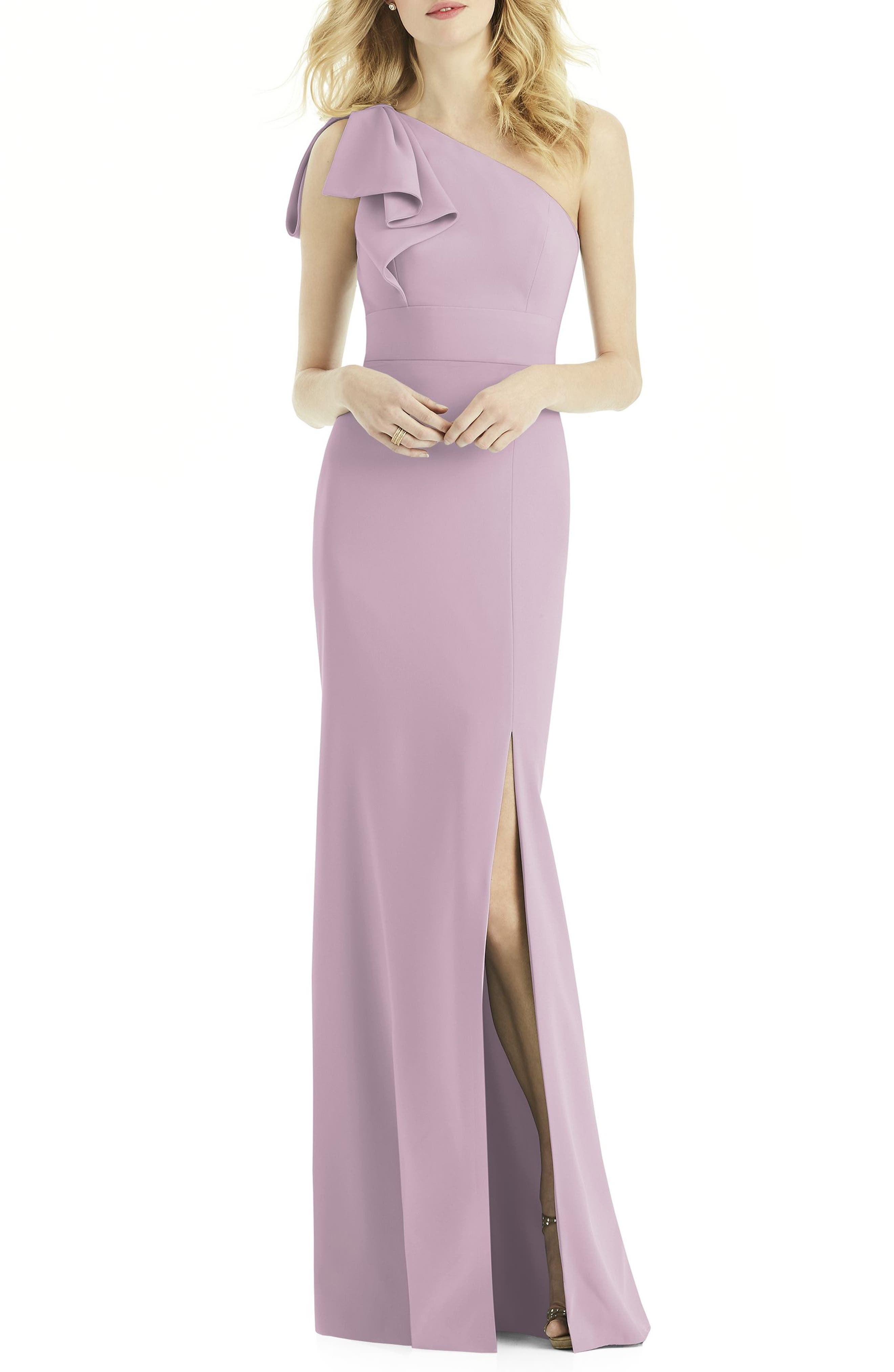 After Six Bow One-Shoulder Gown, Purple