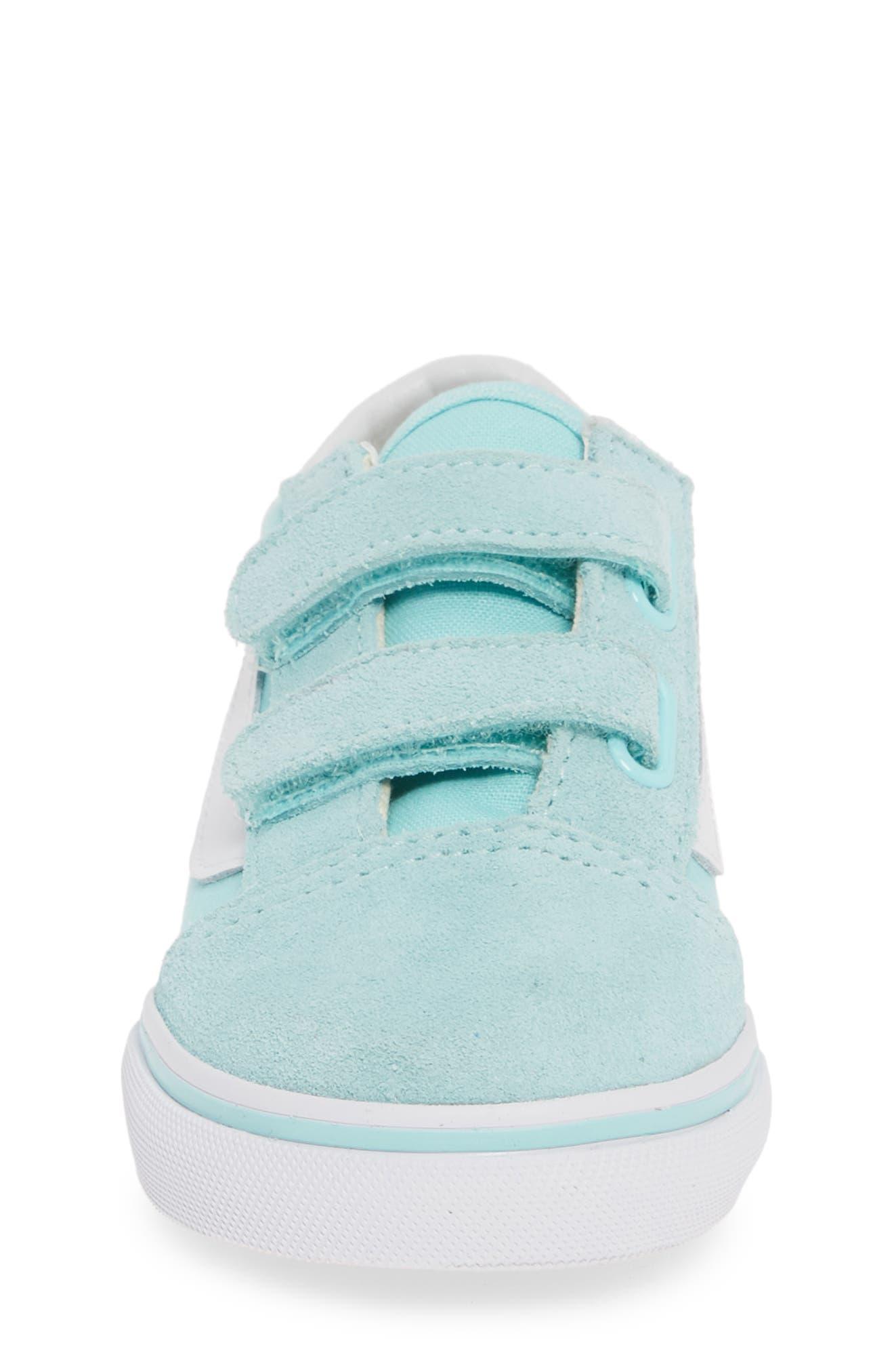 VANS, 'Old Skool V' Sneaker, Alternate thumbnail 4, color, BLUE TINT/ TRUE WHITE
