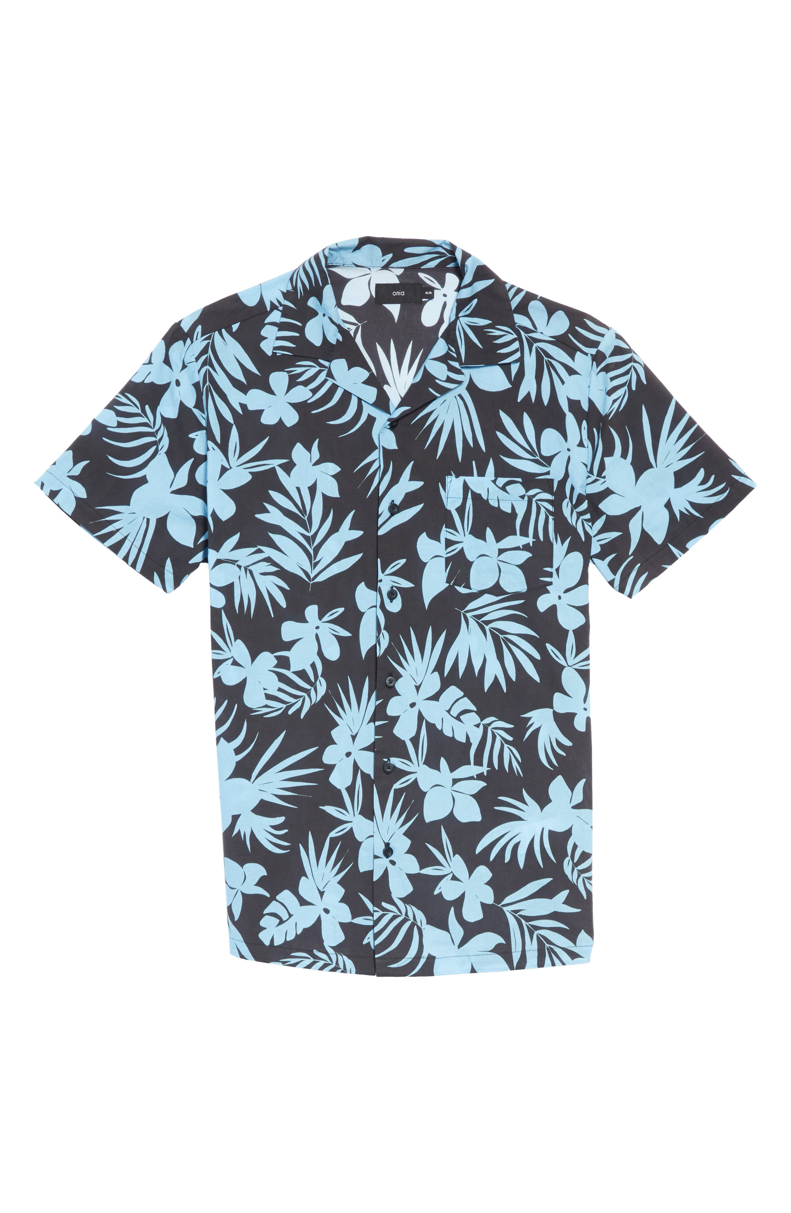 ONIA, Hibiscus Print Camp Shirt, Alternate thumbnail 6, color, BLACK