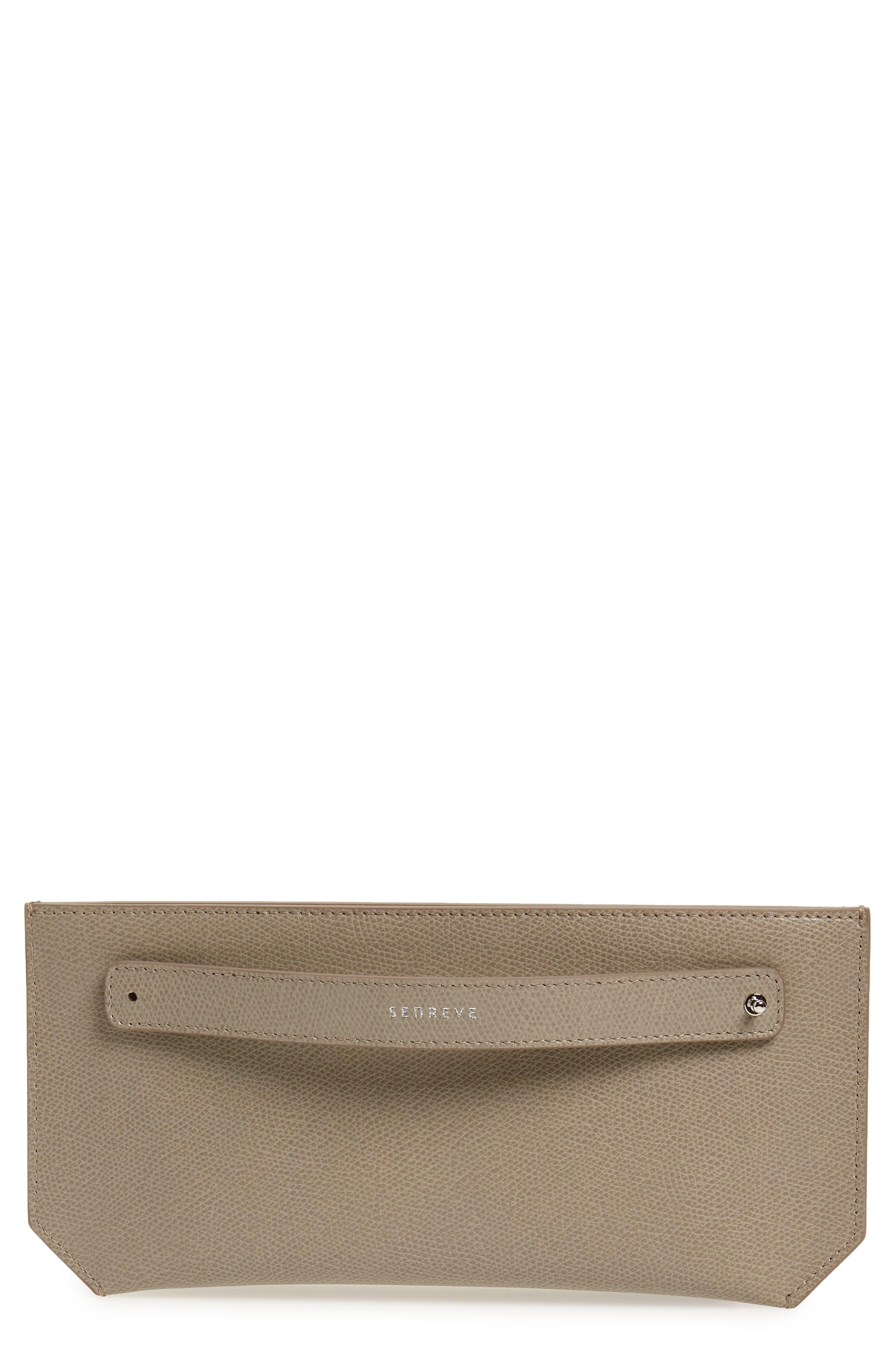 SENREVE, Pebbled Leather Bracelet Pouch, Main thumbnail 1, color, SAND