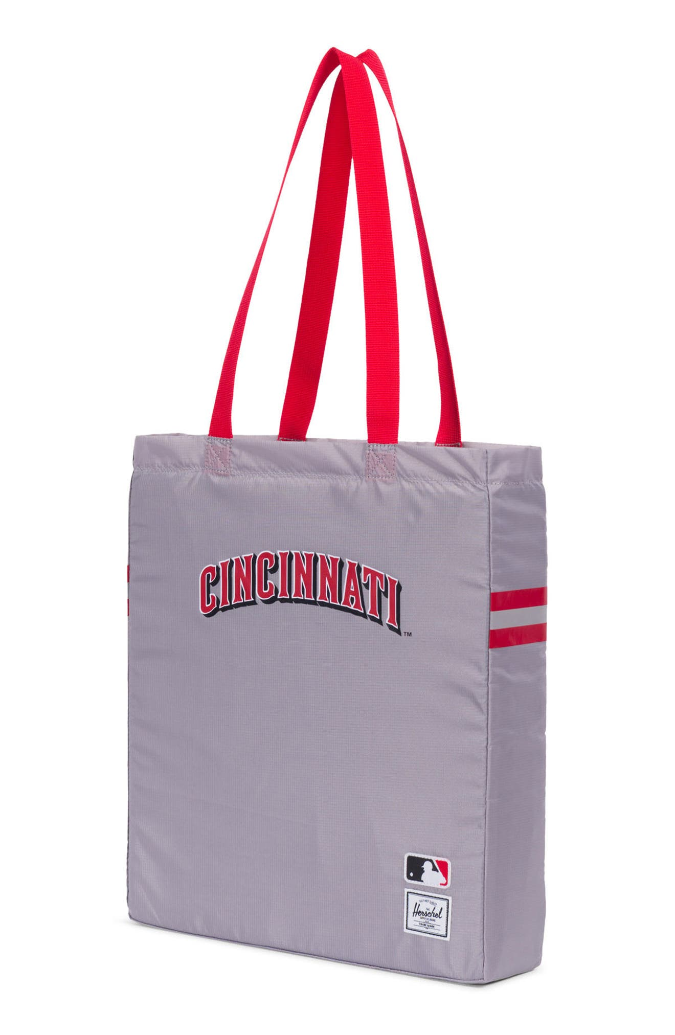 HERSCHEL SUPPLY CO., Packable - MLB National League Tote Bag, Alternate thumbnail 3, color, CINCINNATI REDS
