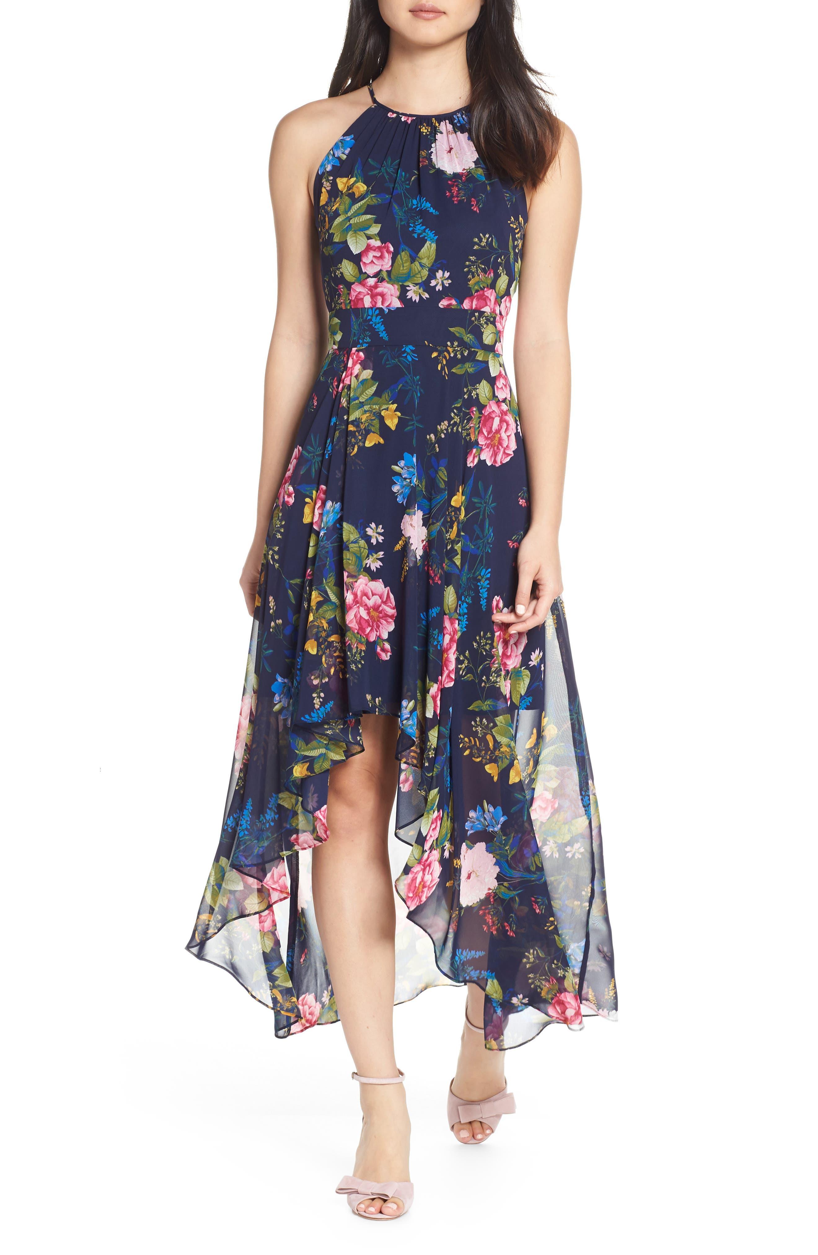 ELIZA J, Floral Print Chiffon Halter Dress, Main thumbnail 1, color, NAVY
