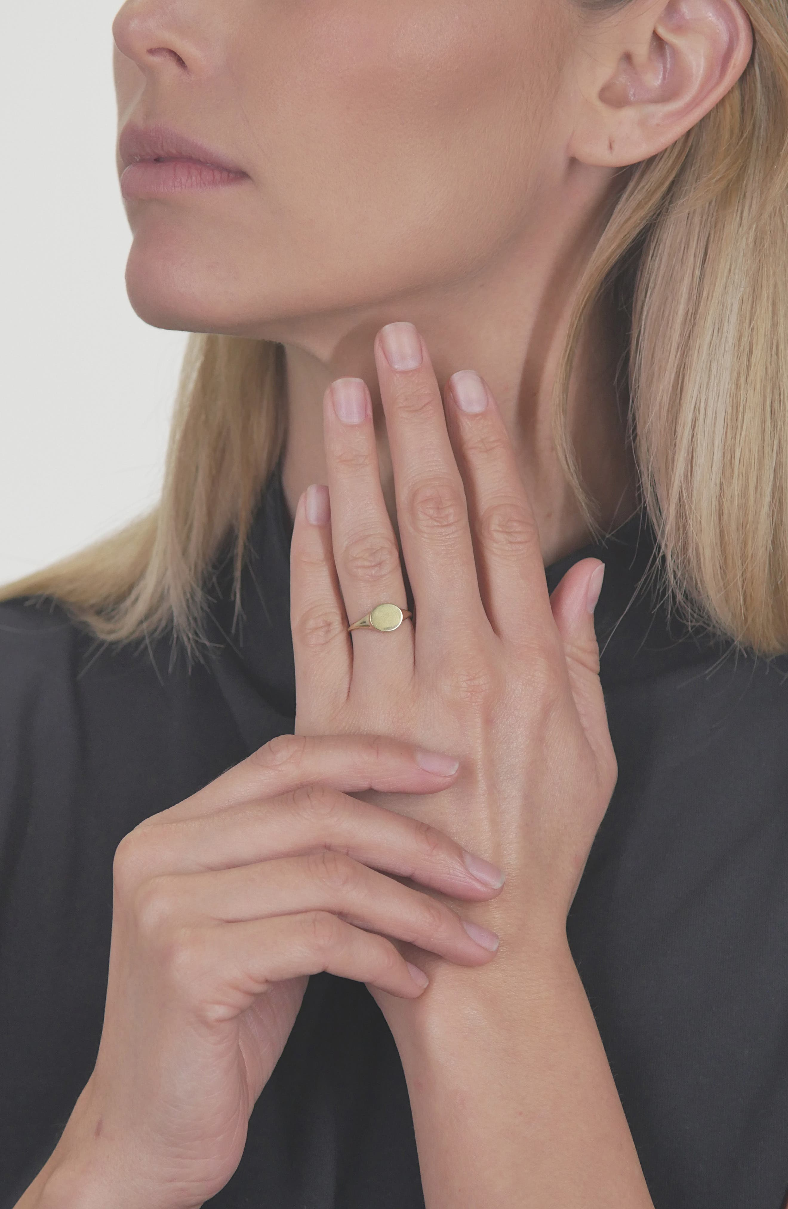 BONY LEVY, Flat Oval Ring, Alternate thumbnail 2, color, GOLD