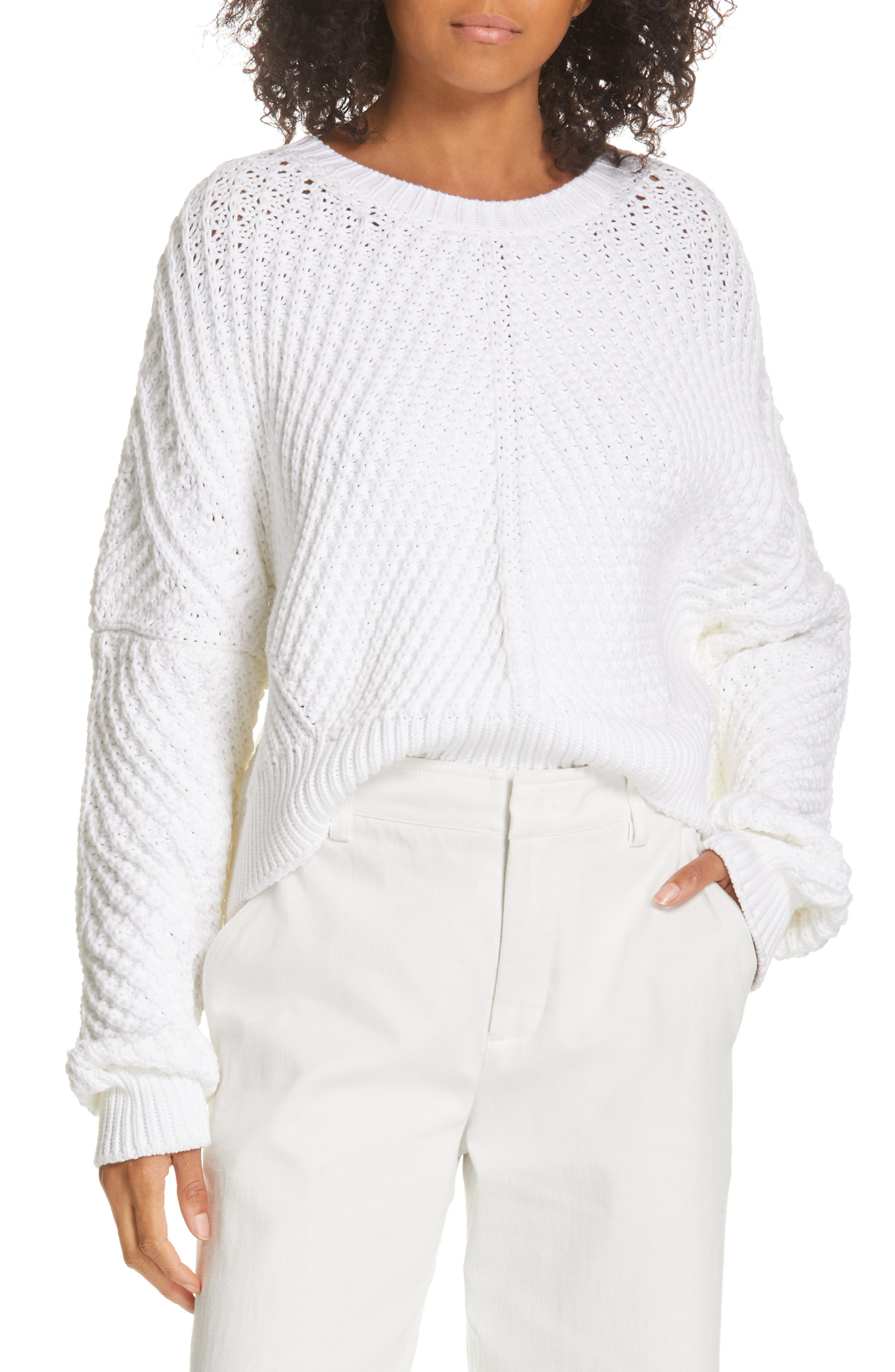 VINCE Rib Knit Sweater, Main, color, OPTIC WHITE