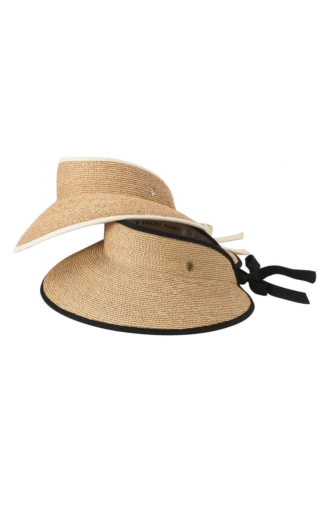 HELEN KAMINSKI, 'Mita' Packable Raffia Visor, Alternate thumbnail 2, color, NATURAL/ MIDNIGHT