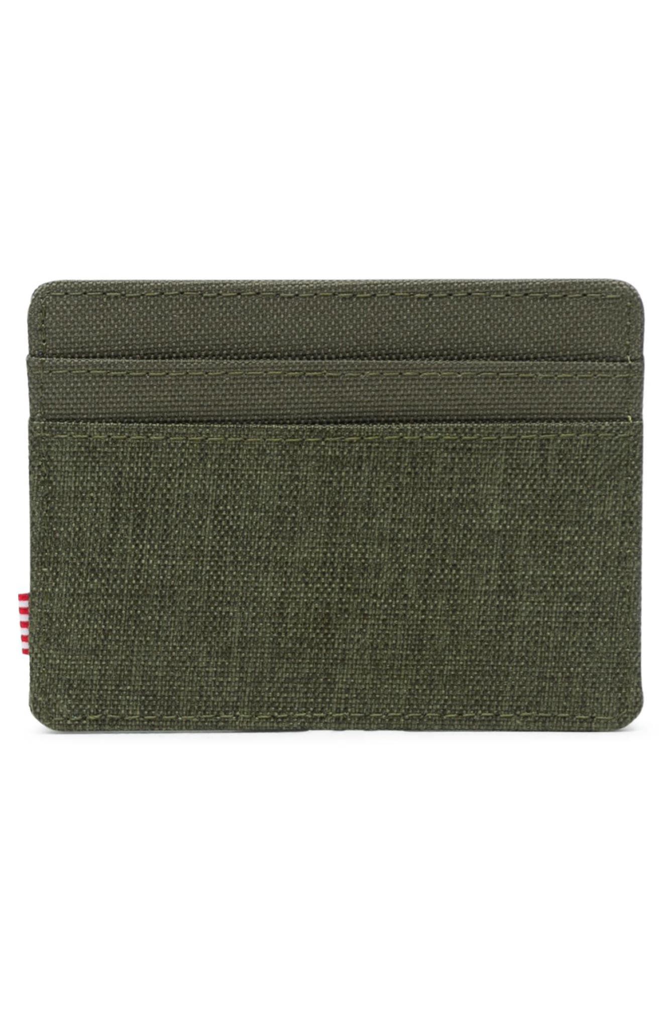 HERSCHEL SUPPLY CO., Charlie Card Case, Alternate thumbnail 2, color, OLIVE NIGHT CROSSHATCH
