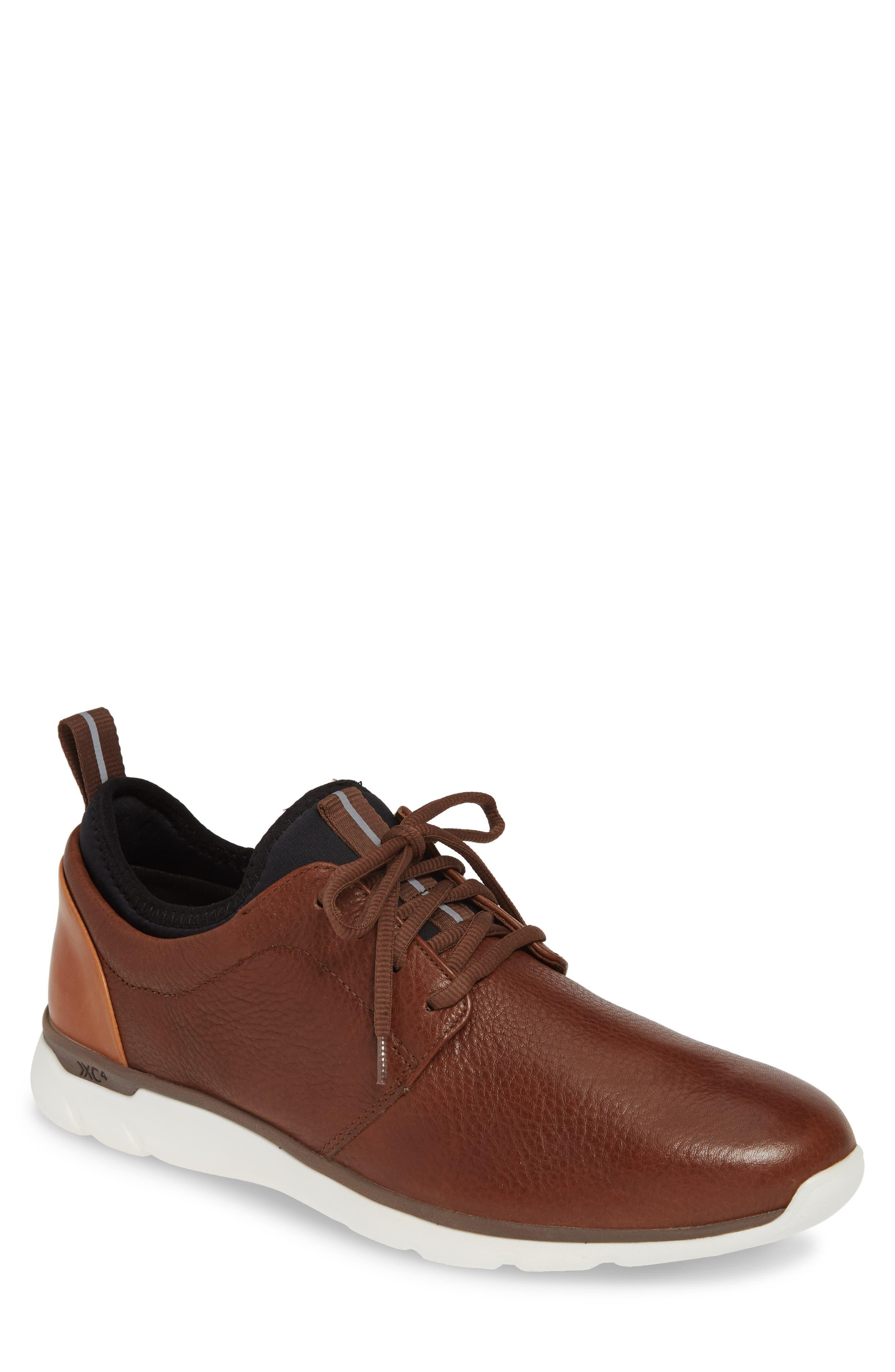 JOHNSTON & MURPHY, Prentiss XC4<sup>®</sup> Waterproof Low Top Sneaker, Main thumbnail 1, color, MAHOGANY LEATHER