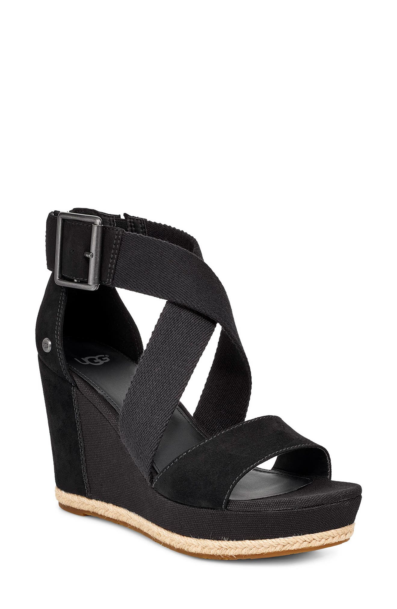 UGG<SUP>®</SUP>, Calla Wedge Sandal, Main thumbnail 1, color, BLACK FABRIC