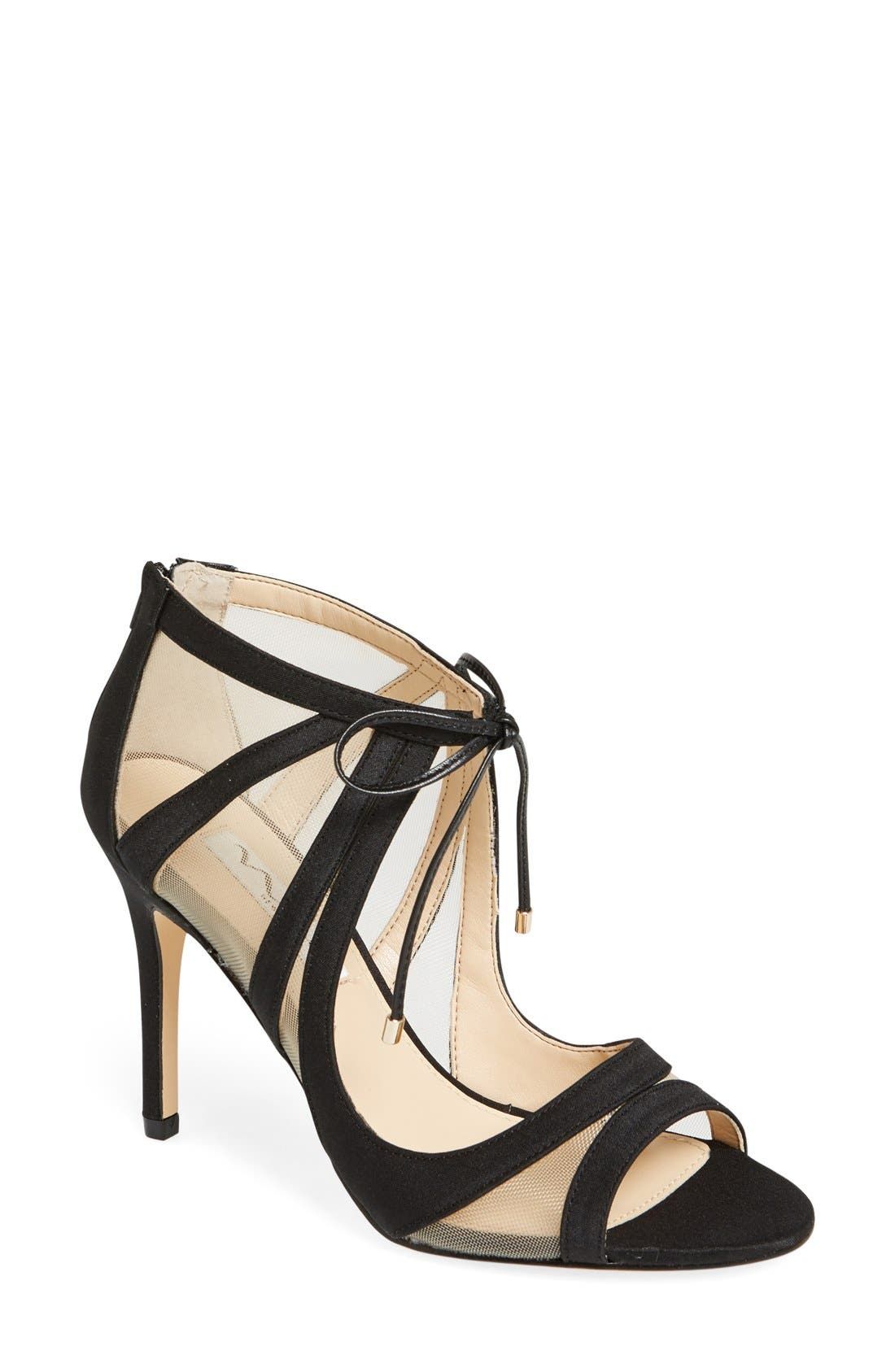 NINA, Cherie Illusion Sandal, Main thumbnail 1, color, BLACK SATIN/ NUDE MESH