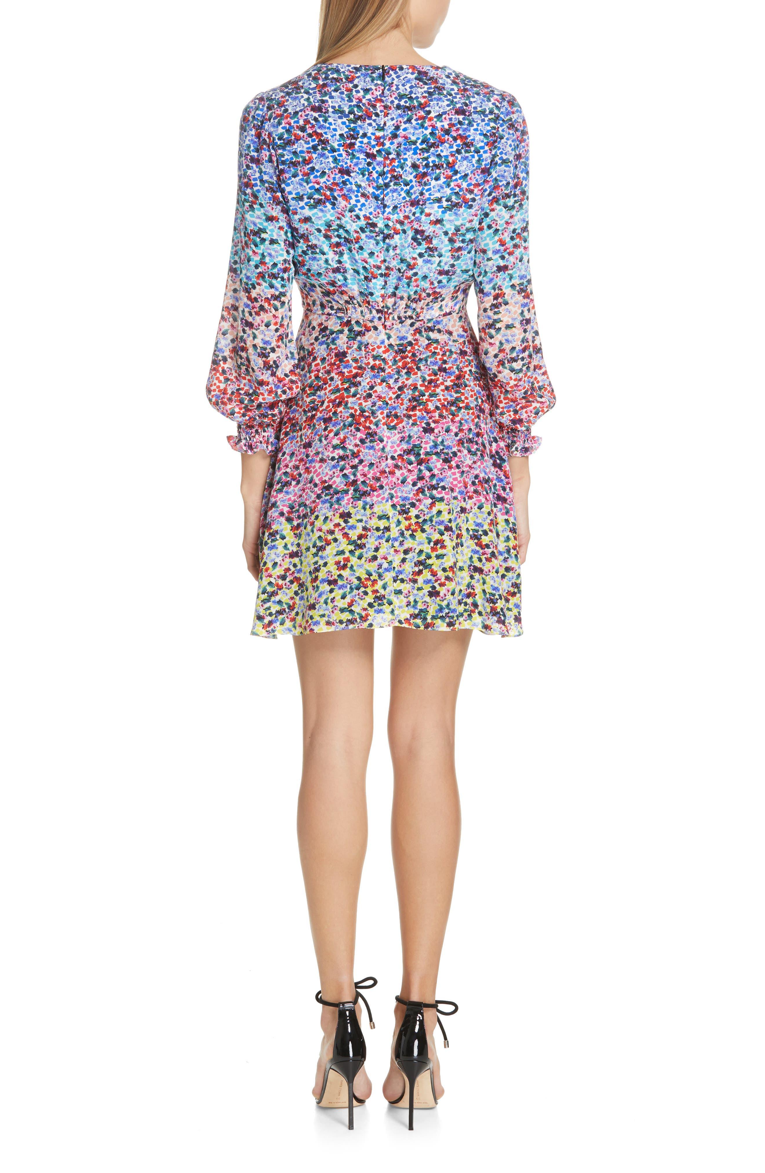 SALONI, Eve Floral Print Dress, Alternate thumbnail 2, color, RAINBOW GARDENIA PLMT