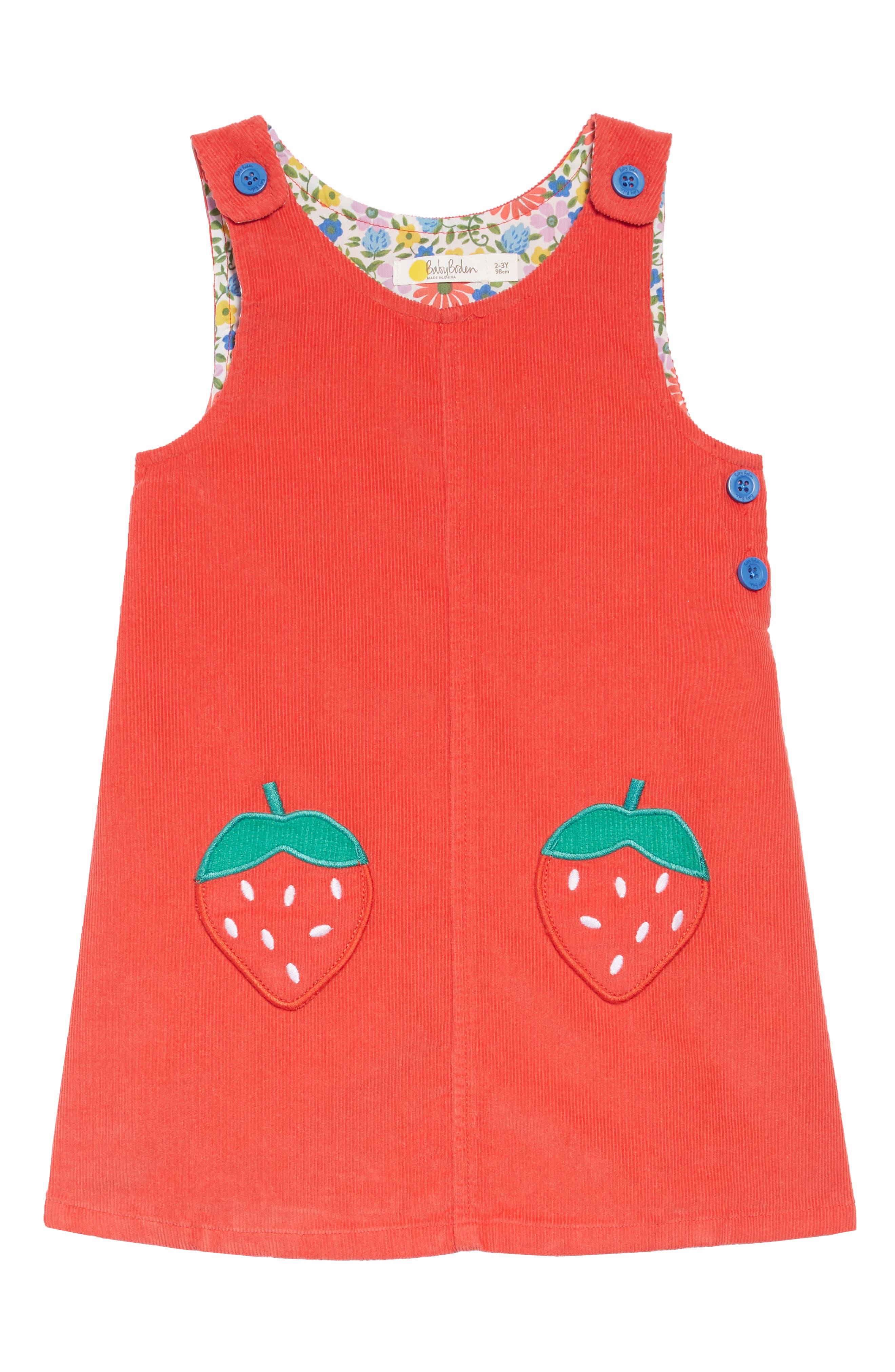 Toddler Girls Mini Boden Patch Pocket Corduroy Dress Size 23Y  Red