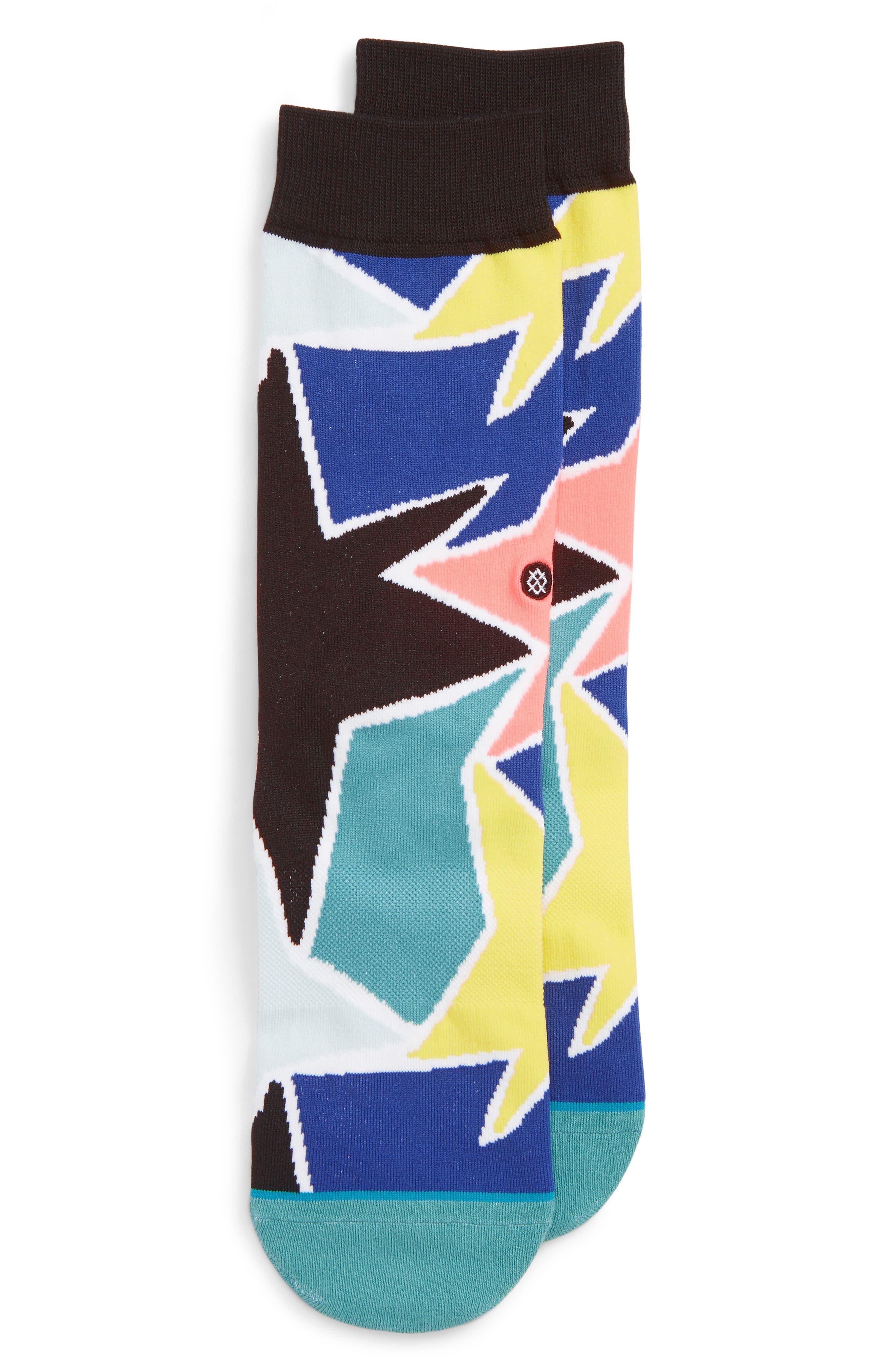 STANCE, Star Struck Crew Socks, Main thumbnail 1, color, BLUE