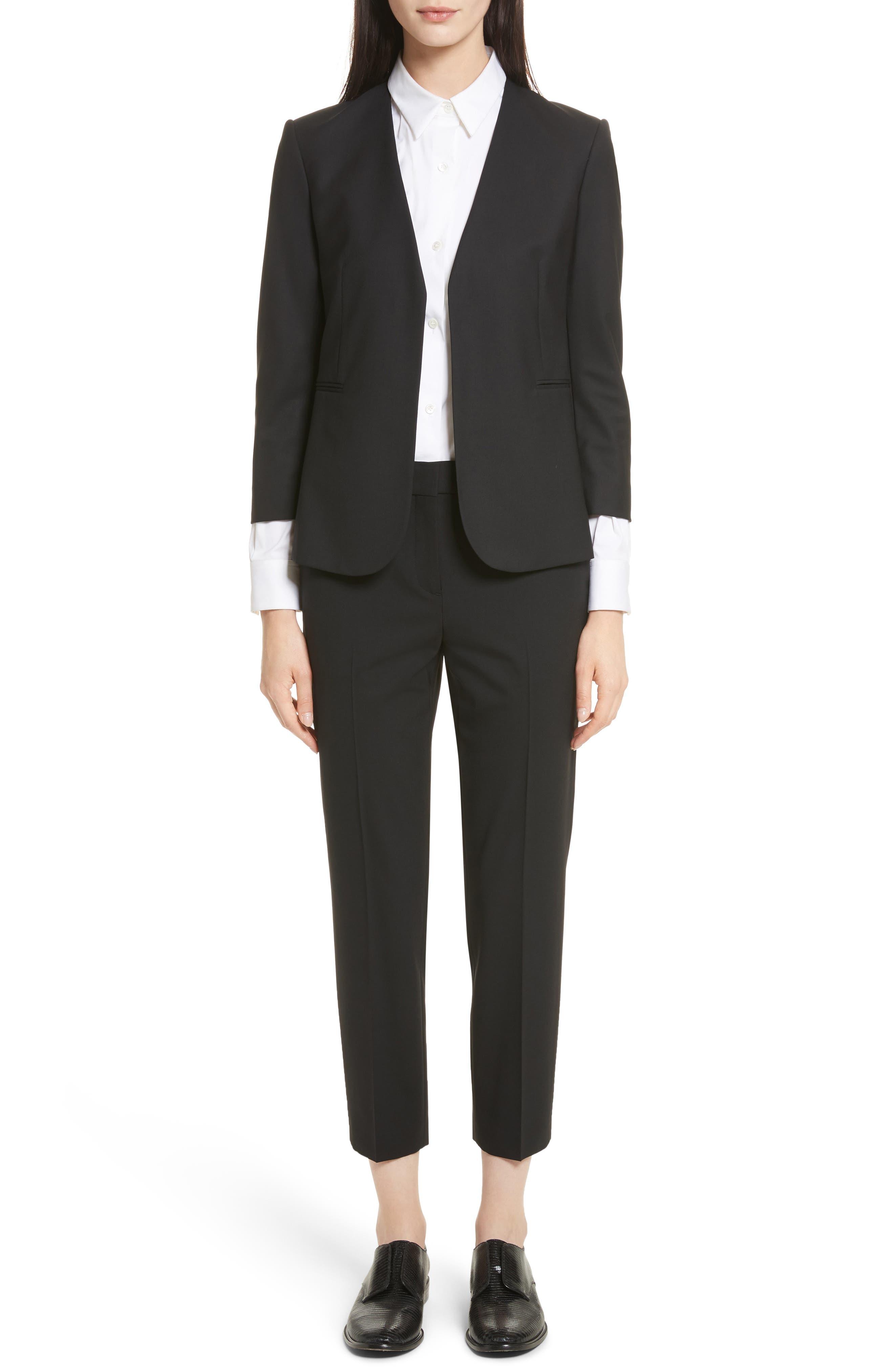 THEORY, Treeca 2 Good Wool Crop Suit Pants, Alternate thumbnail 8, color, BLACK