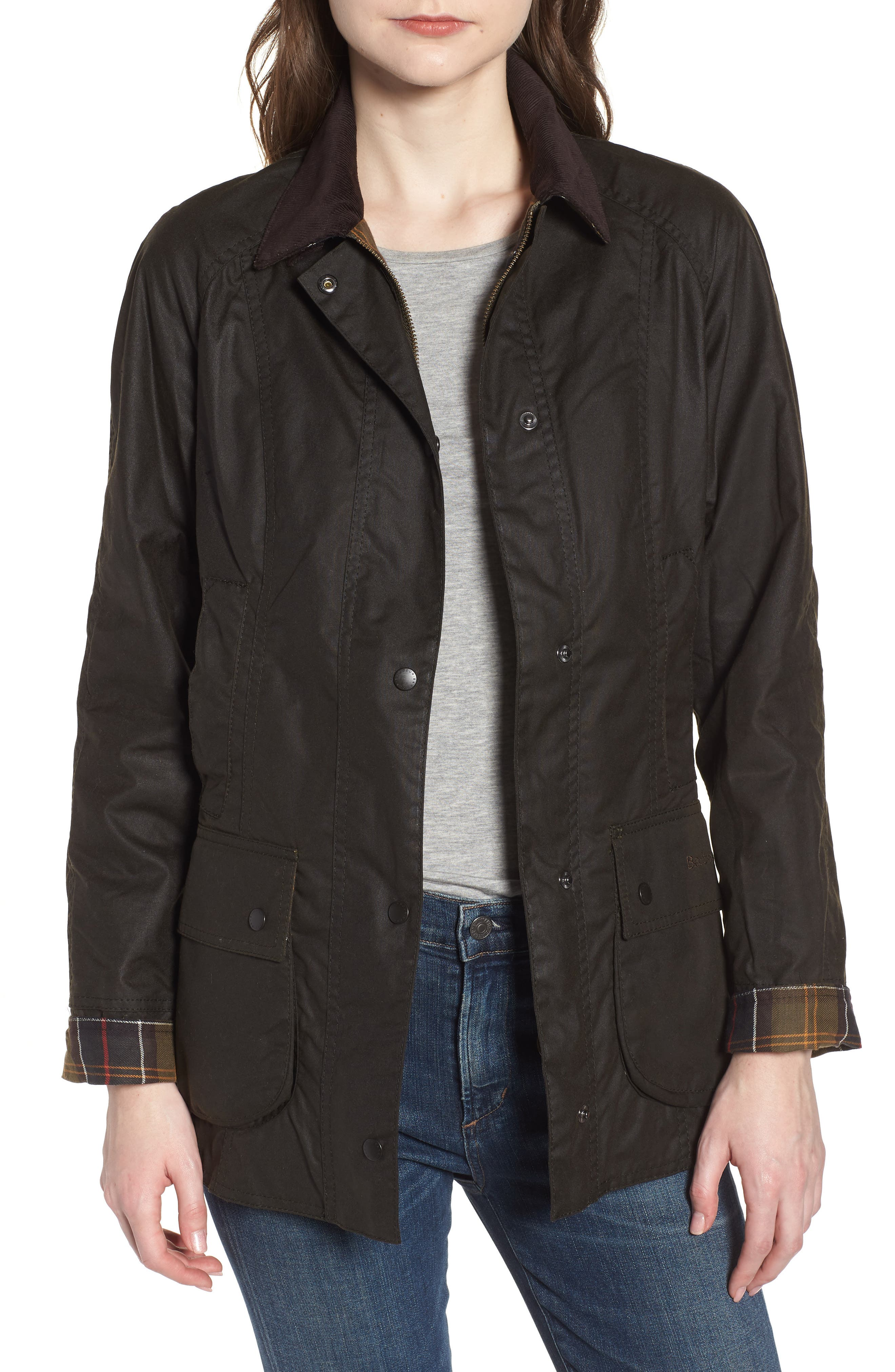 BARBOUR, Beadnell Waxed Cotton Jacket, Main thumbnail 1, color, 300