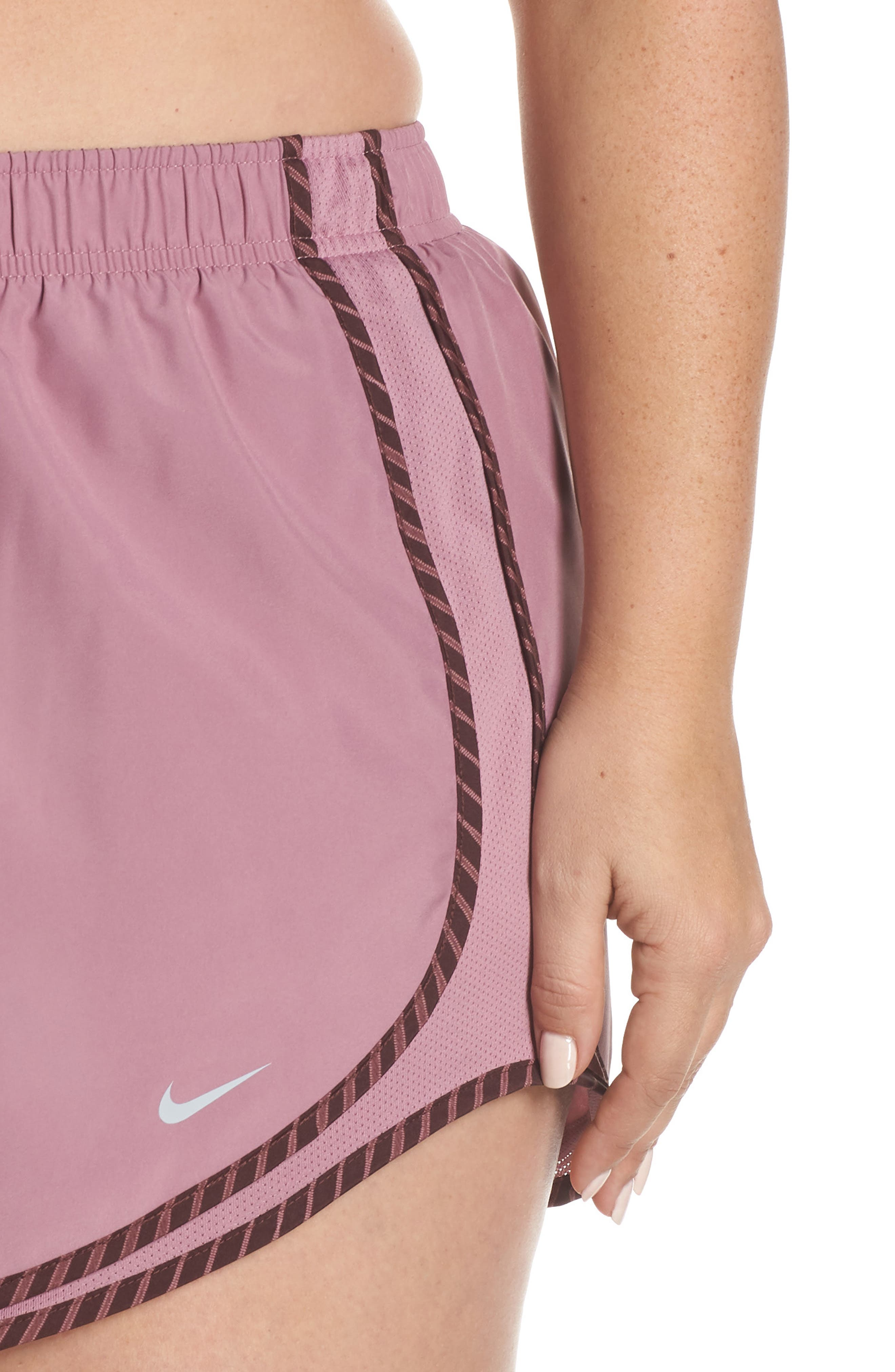 NIKE, Dry Tempo High Rise Running Shorts, Alternate thumbnail 5, color, PLUM/ EL DORADO/ WOLF GREY