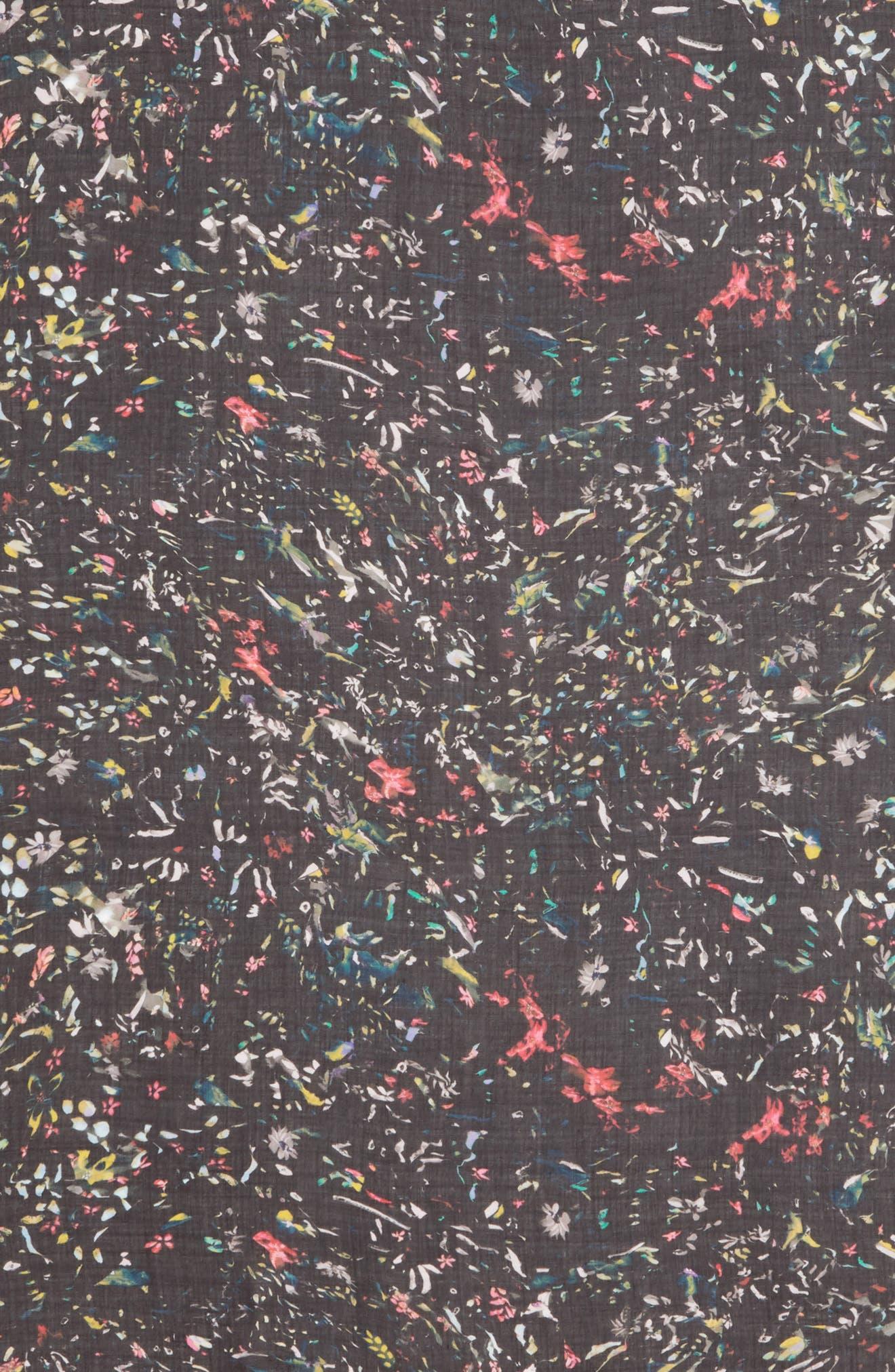 ALLSAINTS, Juno Floral Print Scarf, Alternate thumbnail 4, color, BLACK