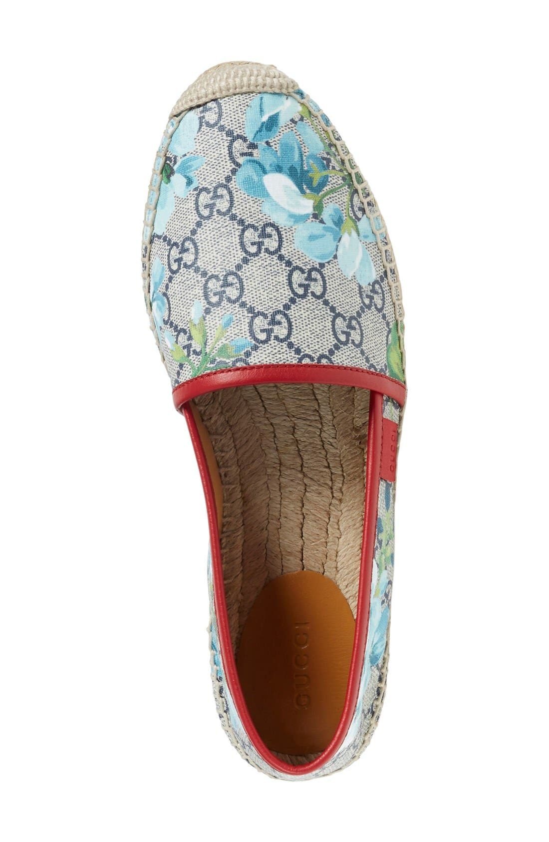 GUCCI, Espadrille Slip-On Flat, Alternate thumbnail 3, color, 600