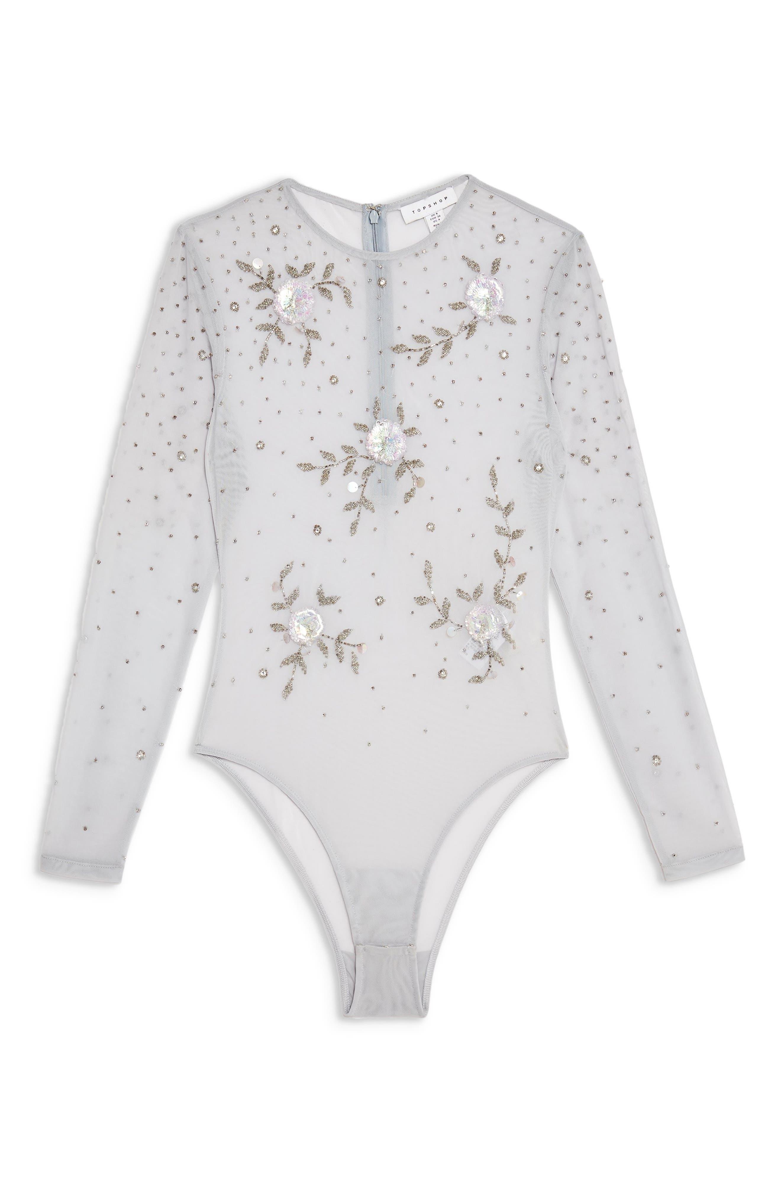 TOPSHOP, Embellished Floral Bodysuit, Alternate thumbnail 2, color, 100