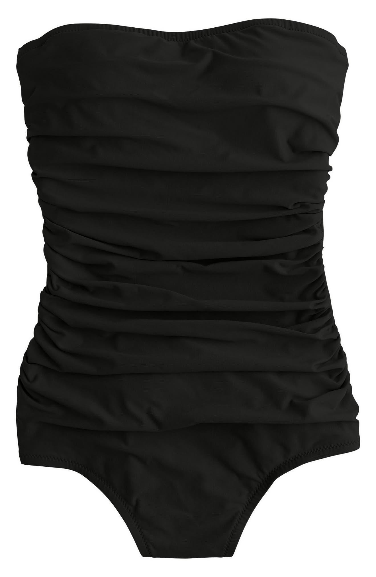 J.CREW Ruched One-Piece Bandeau Swimsuit, Main, color, 001