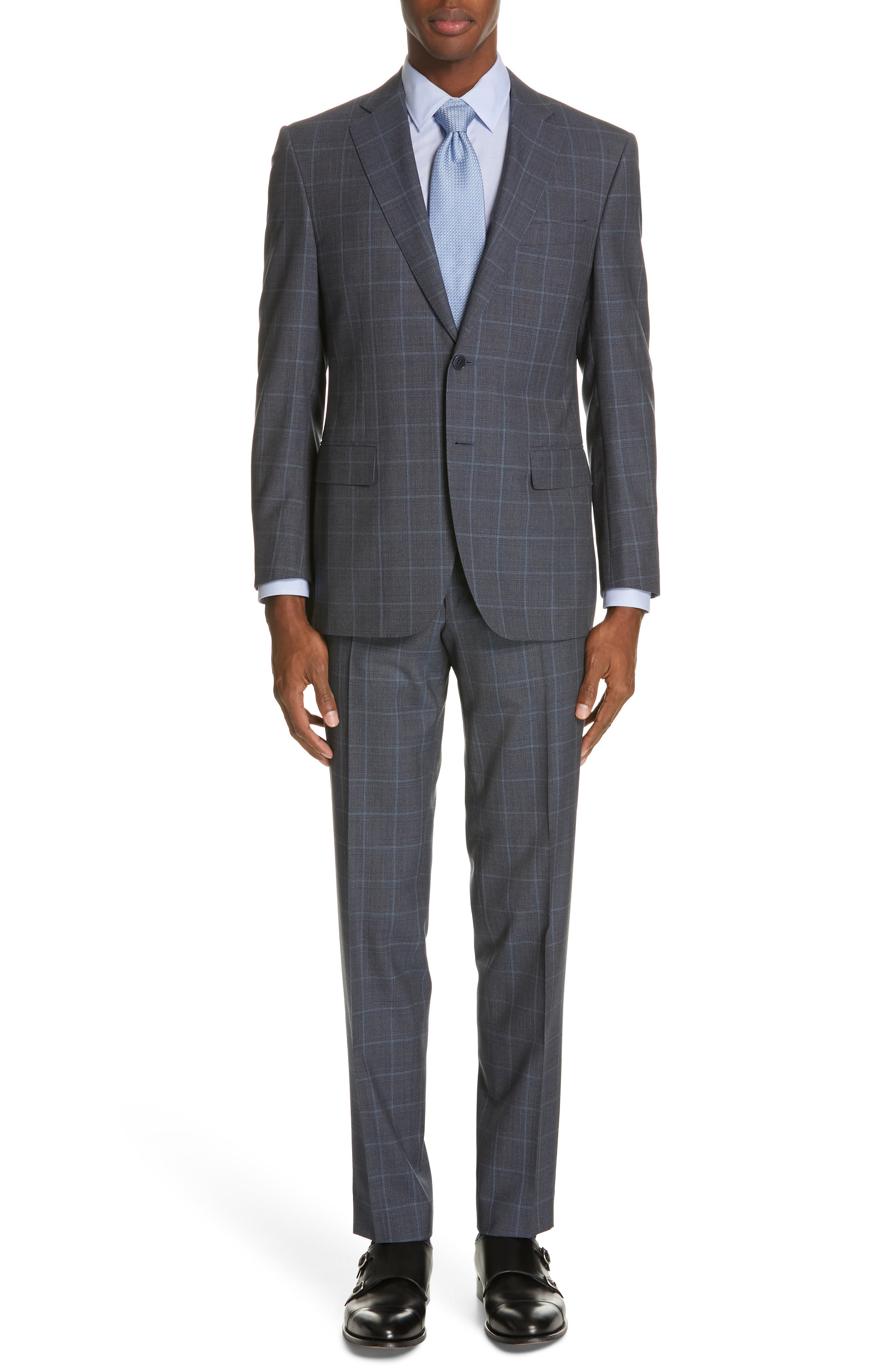 CANALI, Siena Soft Classic Fit Plaid Wool Suit, Main thumbnail 1, color, CHARCOAL