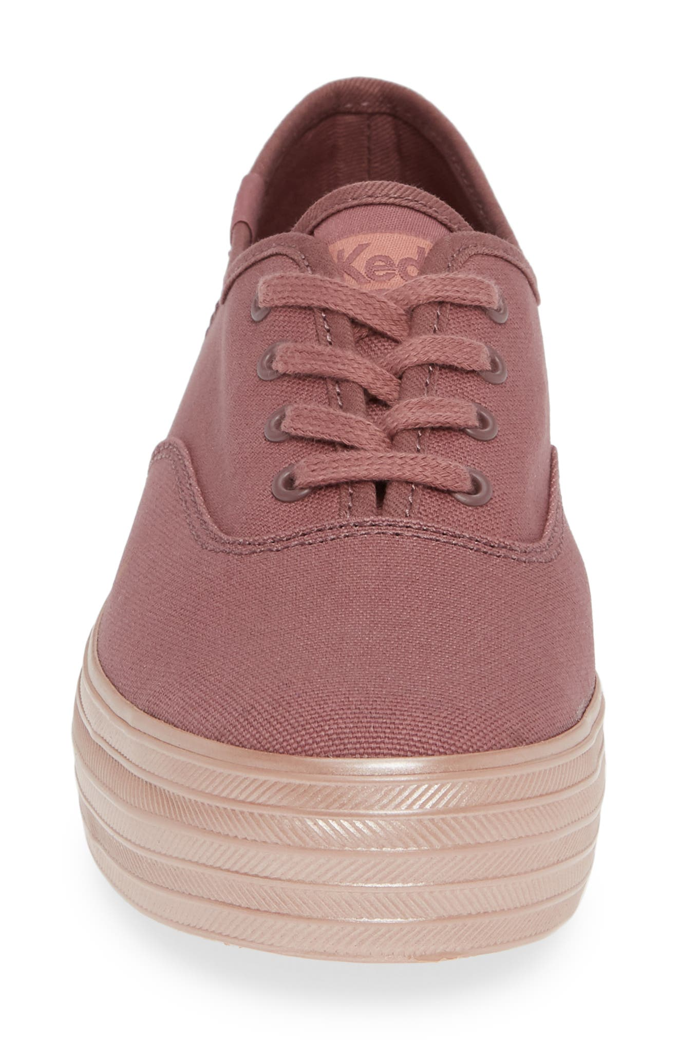 KEDS<SUP>®</SUP>, Triple Shimmer Sneaker, Alternate thumbnail 4, color, MAUVE