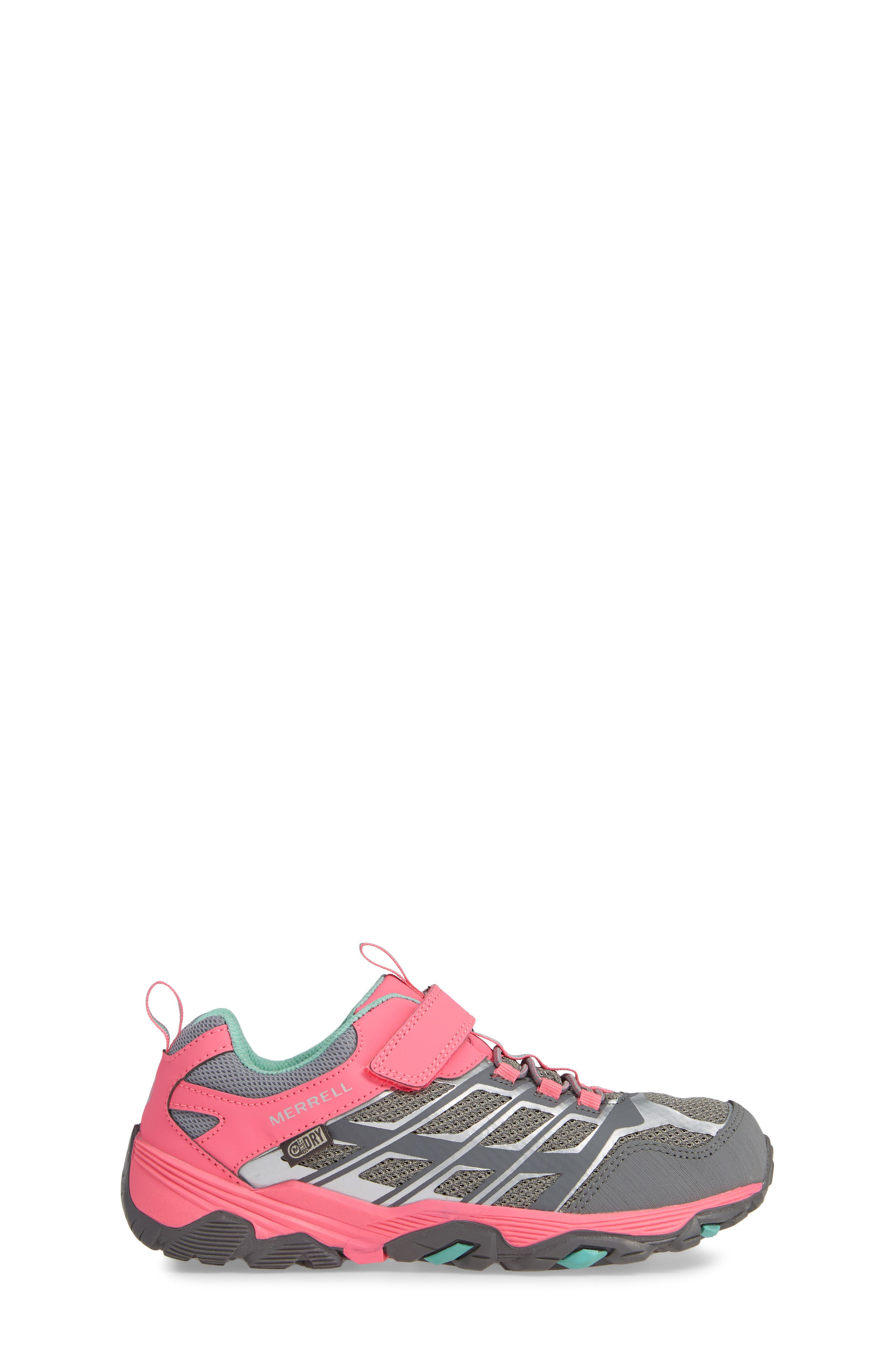 MERRELL, Moab FST Polar Low Waterproof Sneaker, Alternate thumbnail 3, color, GREY/ CORAL