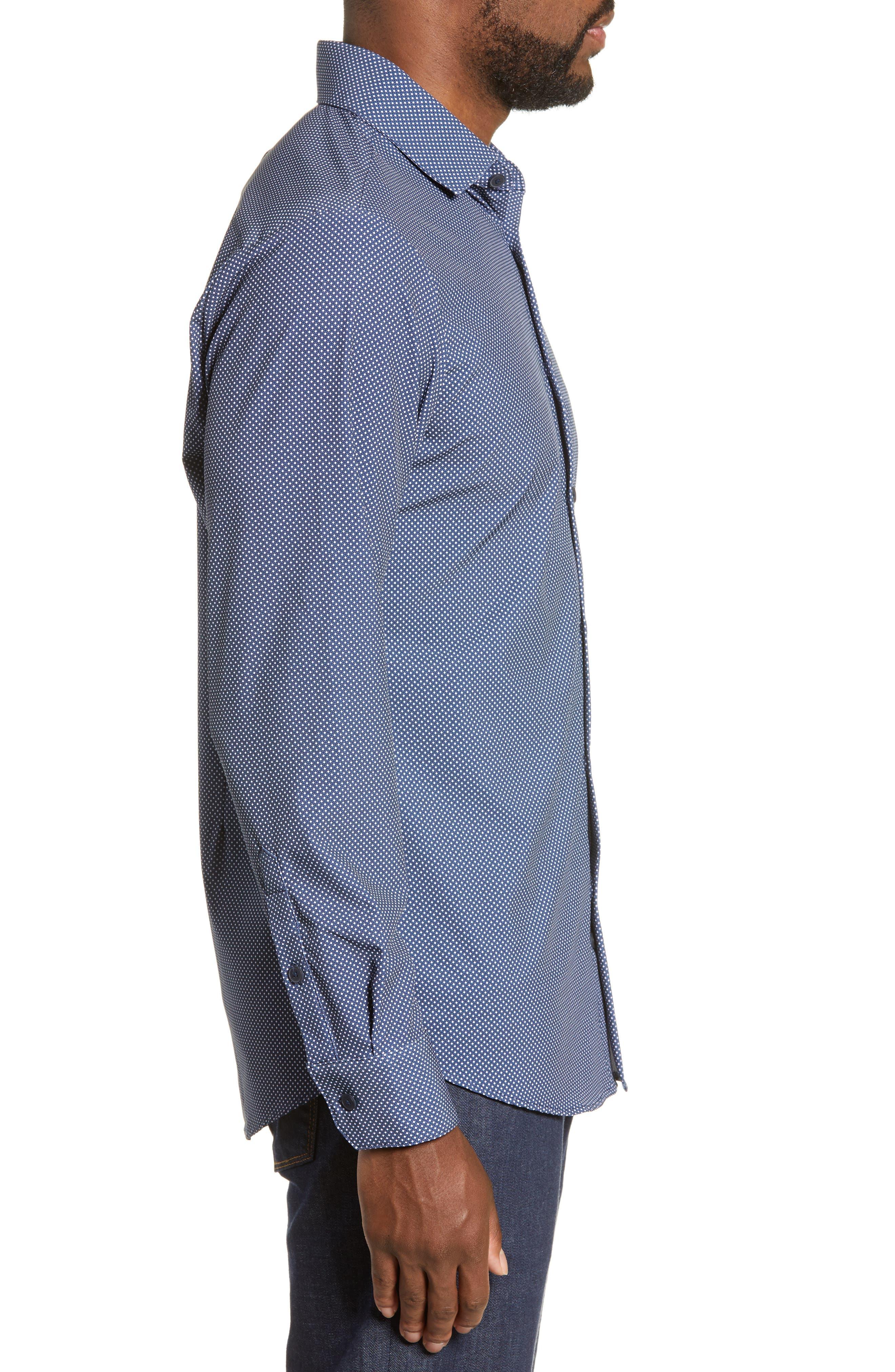 MIZZEN+MAIN, Murray Trim Fit Plaid Performance Sport Shirt, Alternate thumbnail 4, color, NAVY