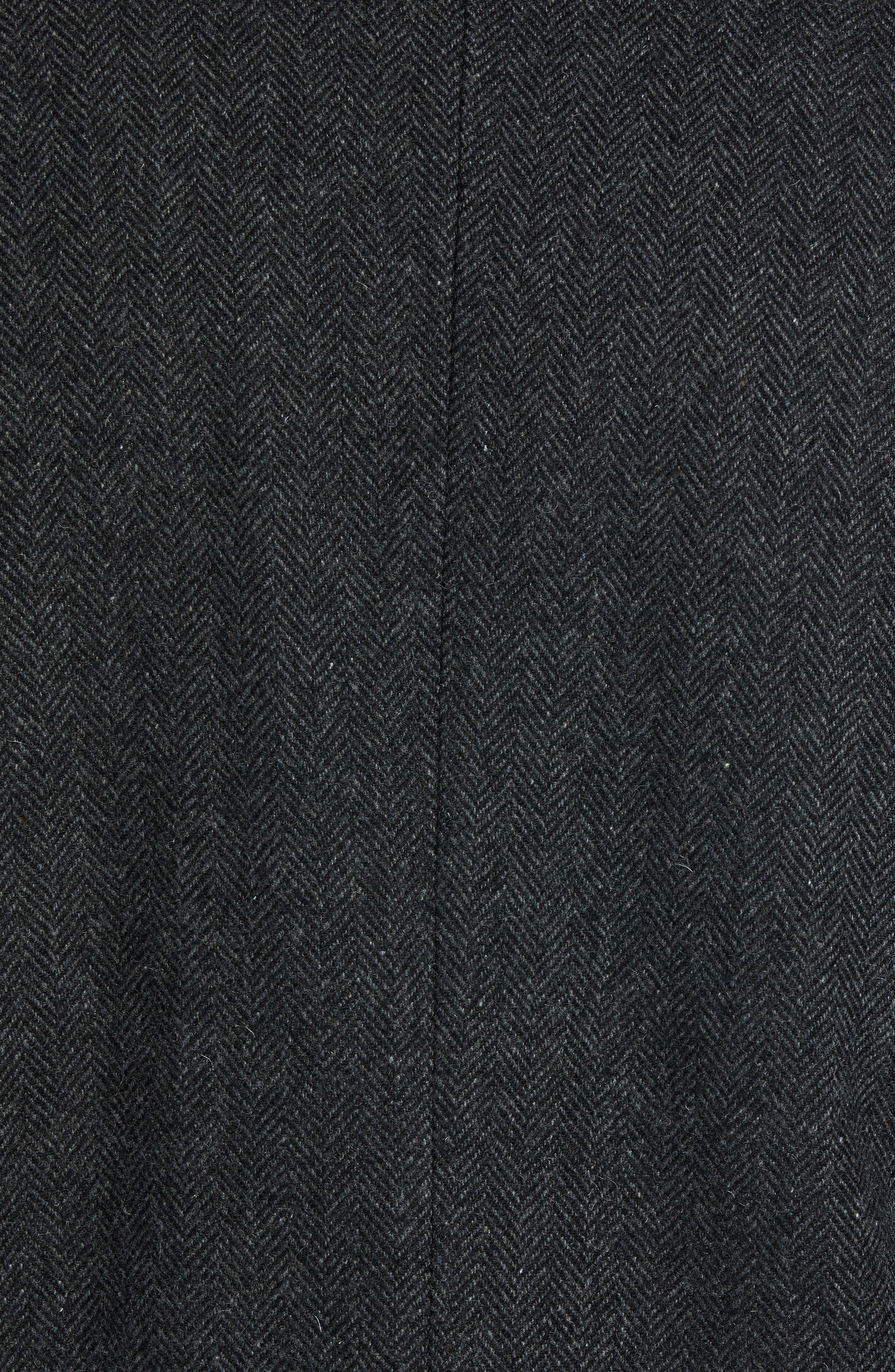 PENDLETON, Iconic Textures Manhattan Wool Blend Top Coat, Alternate thumbnail 7, color, CHARCOAL HERRINGBONE