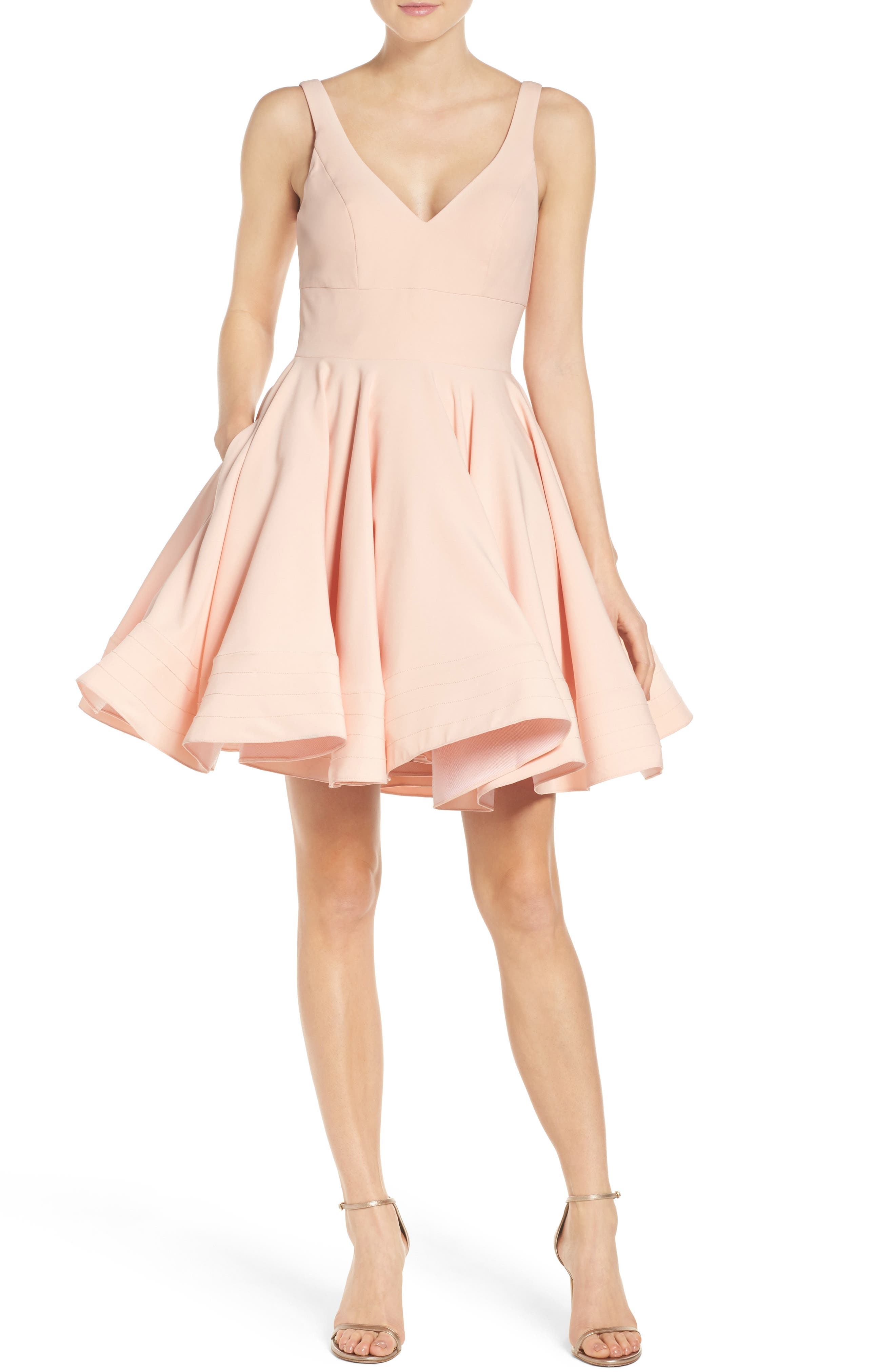 IEENA FOR MAC DUGGAL, Double V-Neck Fit & Flare Party Dress, Alternate thumbnail 6, color, BLUSH