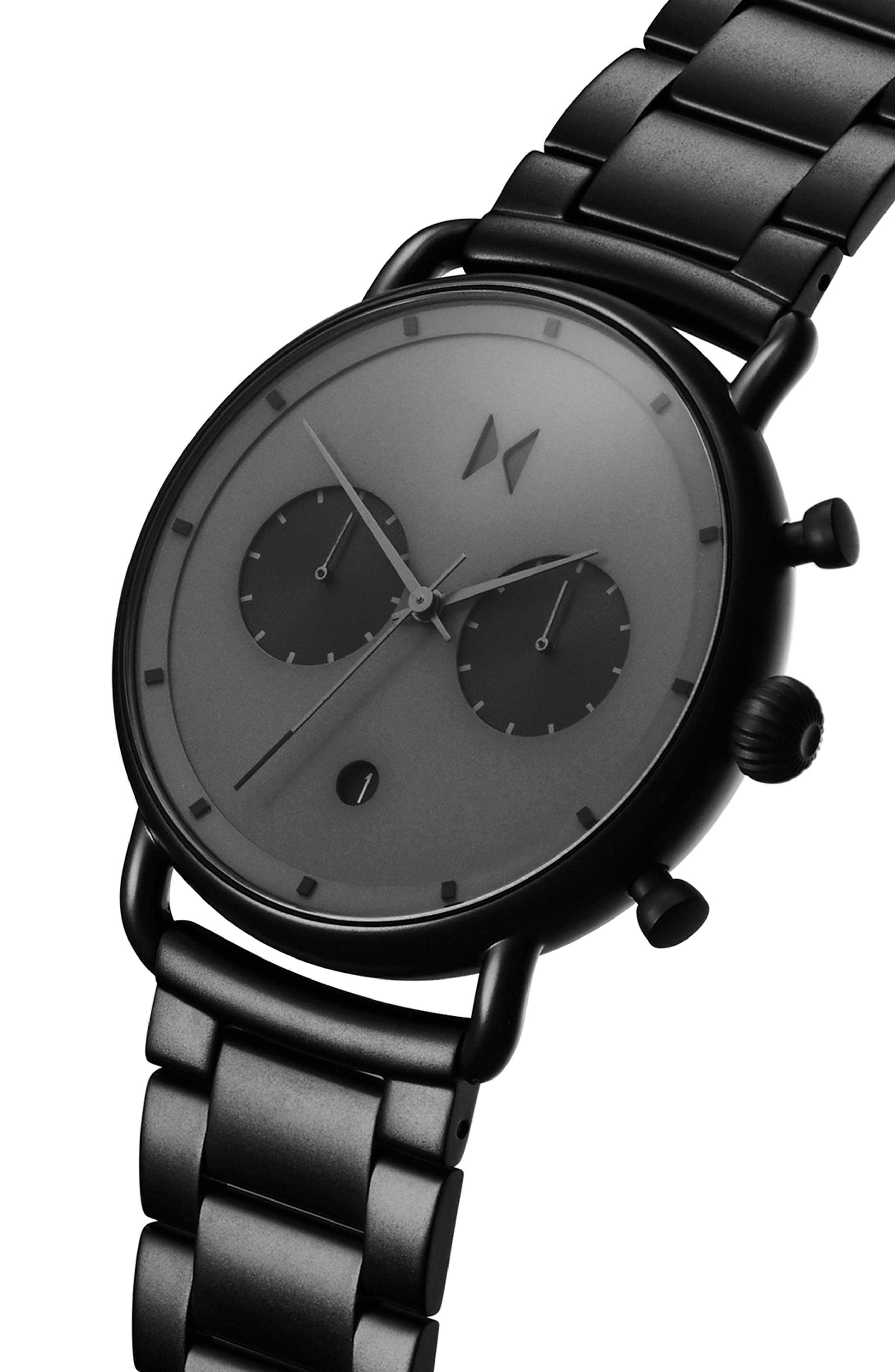 MVMT, Blacktop Chronograph Bracelet Watch, 47mm, Alternate thumbnail 3, color, BLACK/ BLACK