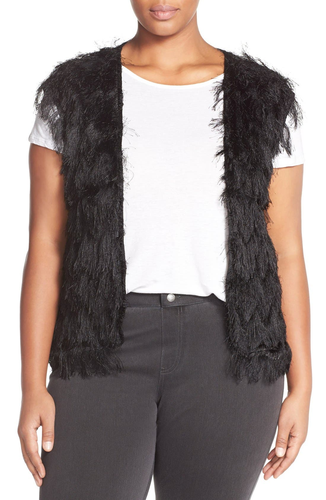 CITY CHIC, 'Disco Fringe' Vest, Main thumbnail 1, color, 001