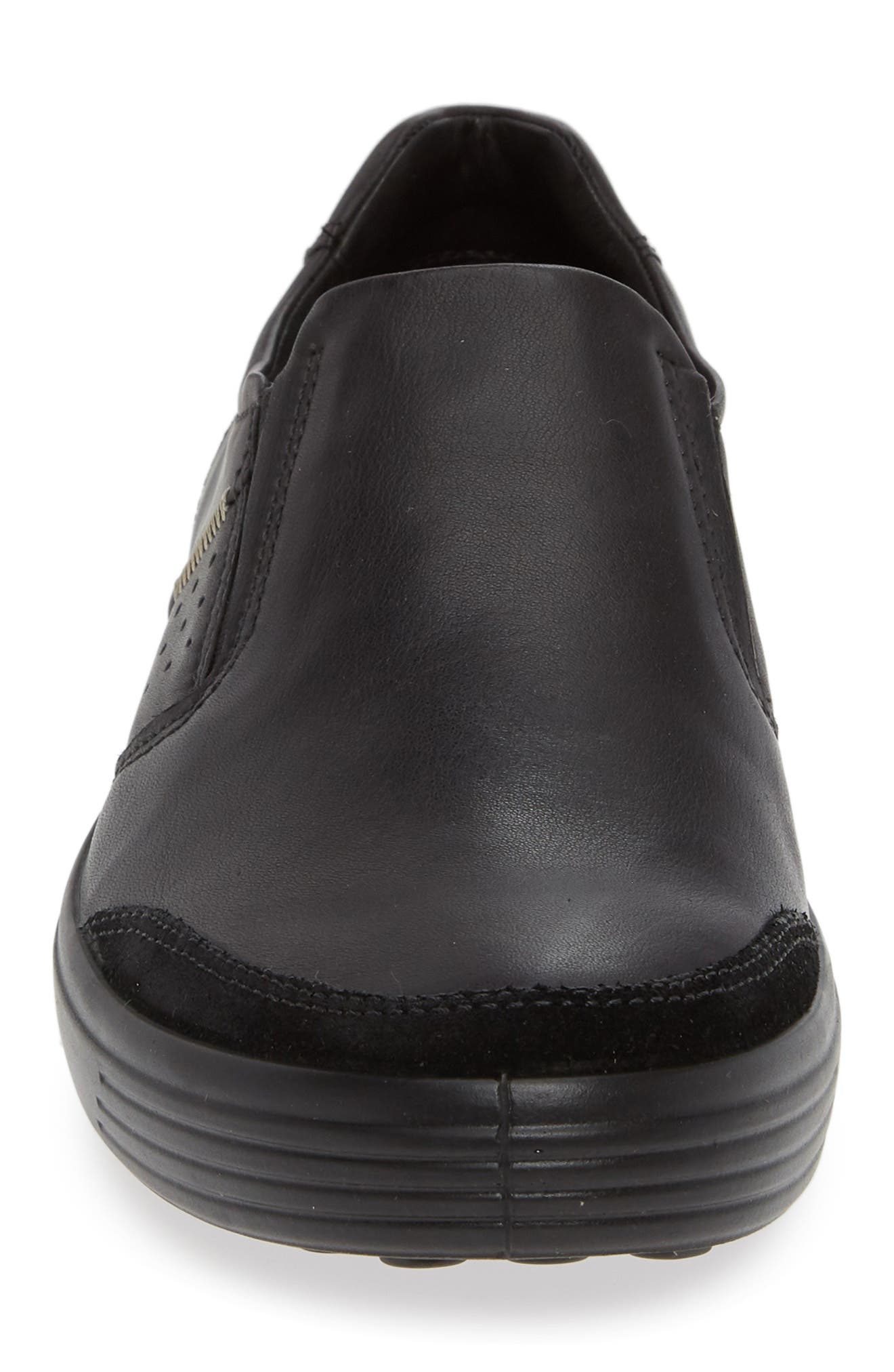 ECCO, Soft 7 Relaxed Slip-On, Alternate thumbnail 4, color, BLACK LEATHER