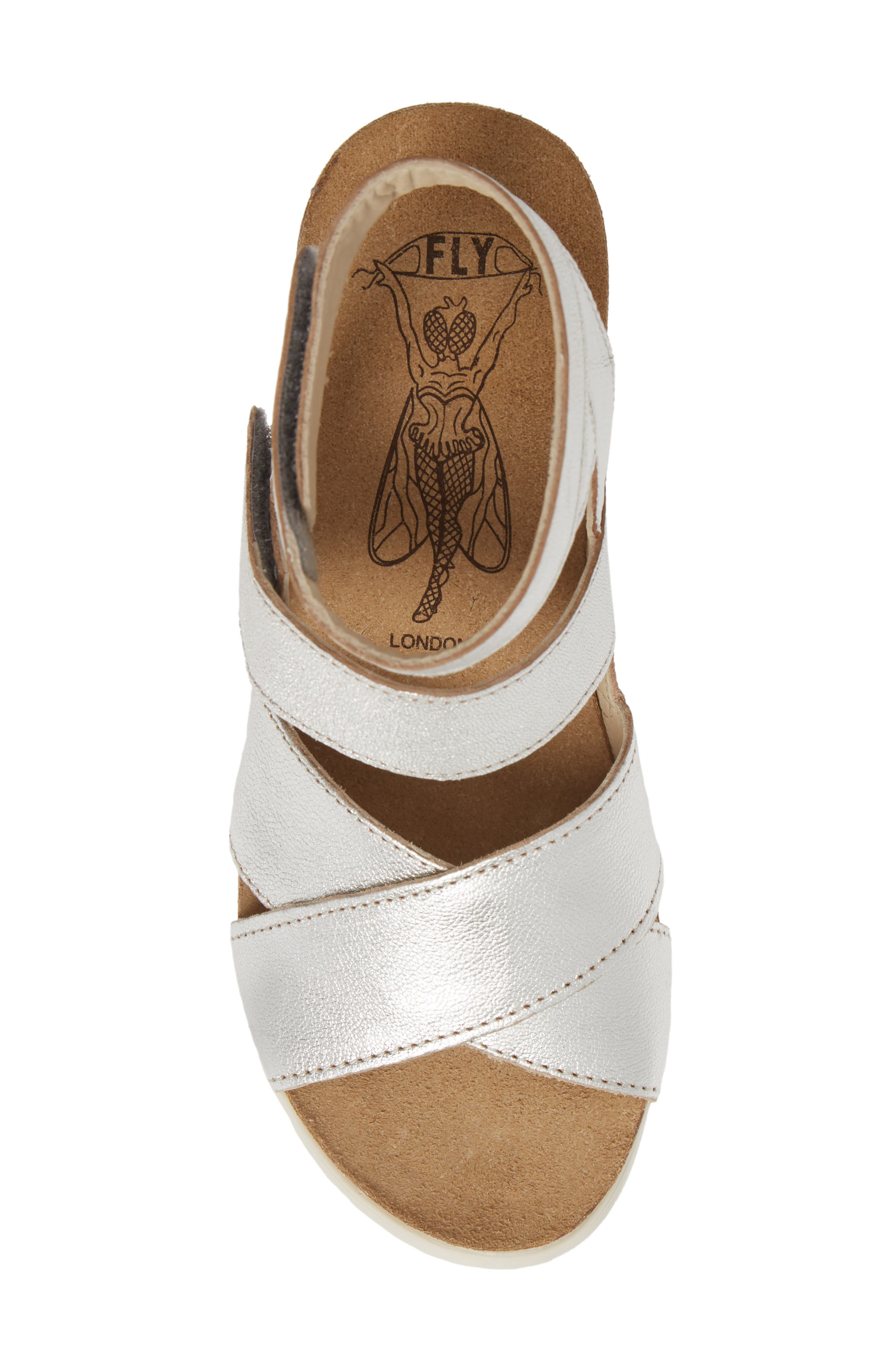 FLY LONDON, 'Wege' Leather Sandal, Alternate thumbnail 5, color, SILVER LEATHER
