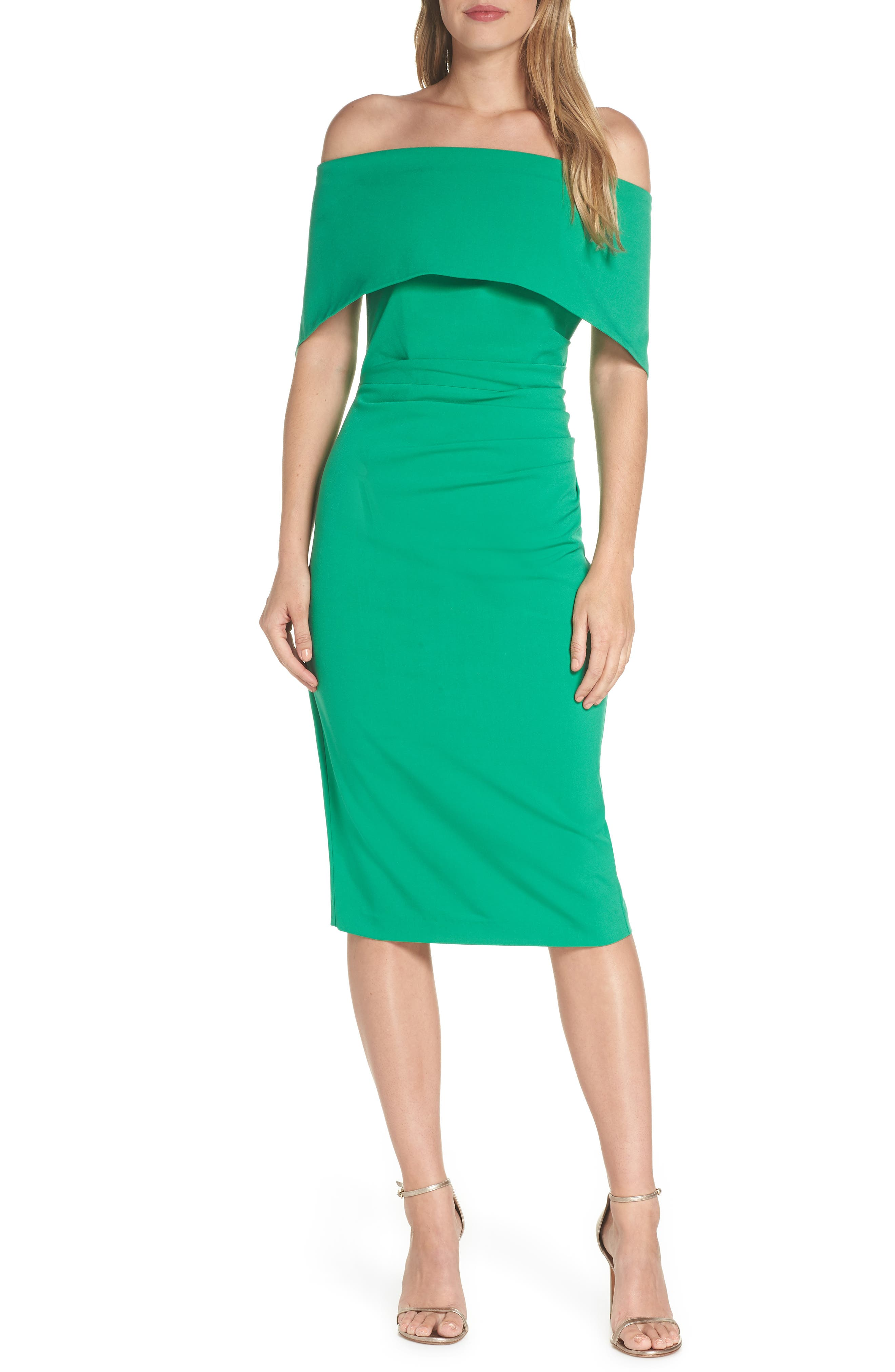 VINCE CAMUTO, Popover Midi Dress, Main thumbnail 1, color, GREEN