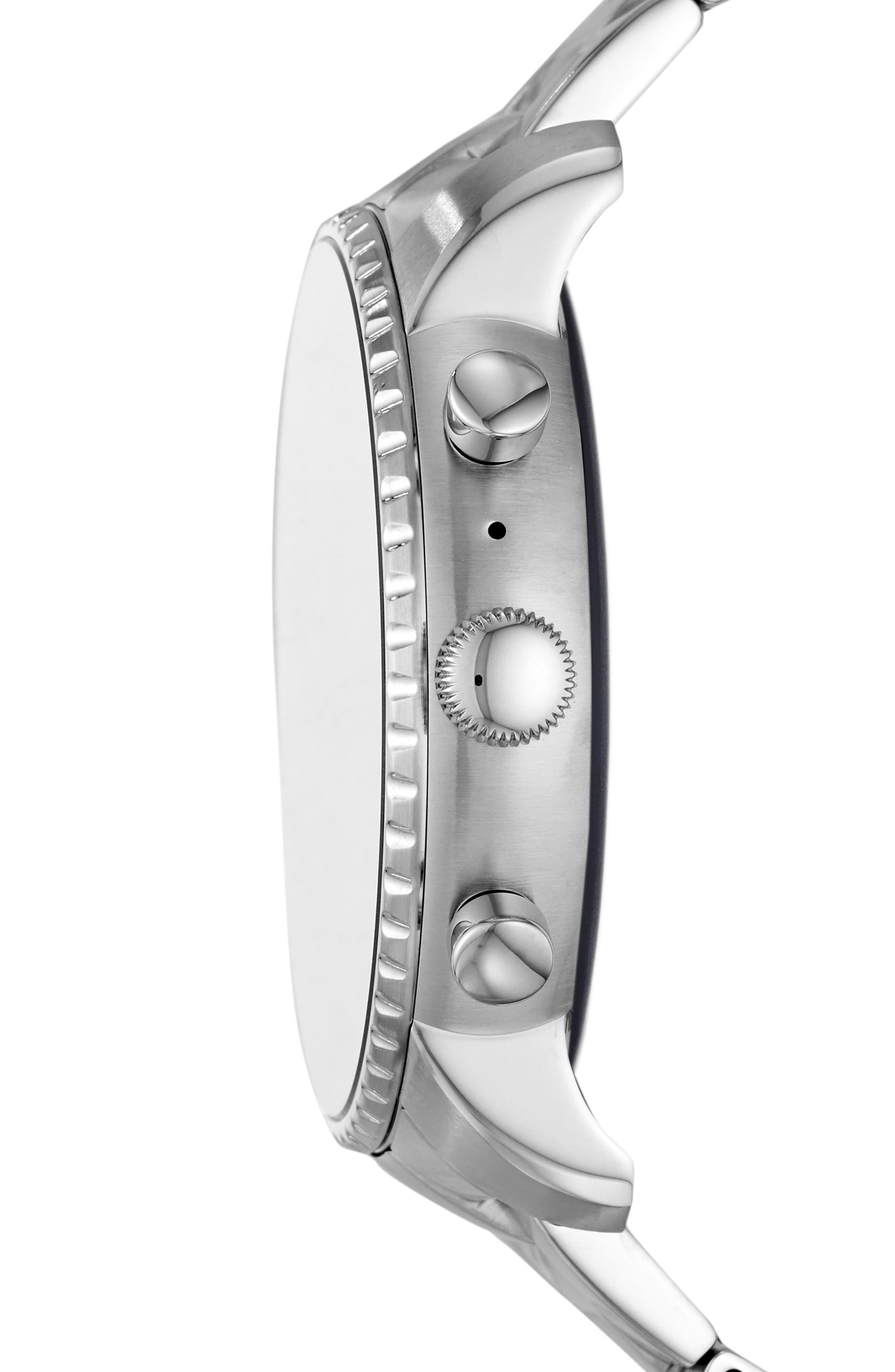 FOSSIL, Q Explorist HR Gen 4 Bracelet Strap Smart Watch, 45mm, Alternate thumbnail 3, color, SILVER